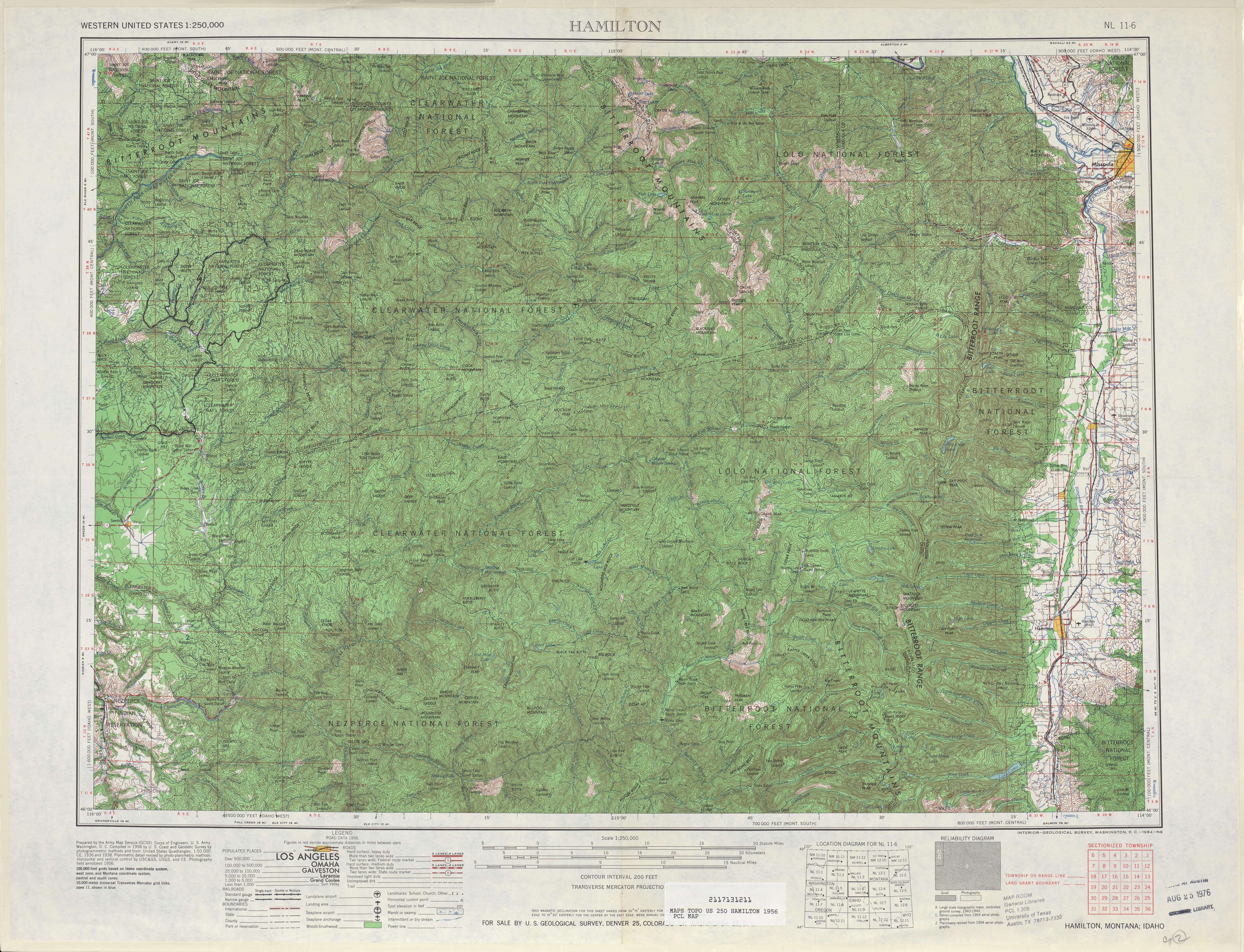 Hoja Hamilton del Mapa Topográfico de los Estados Unidos 1956