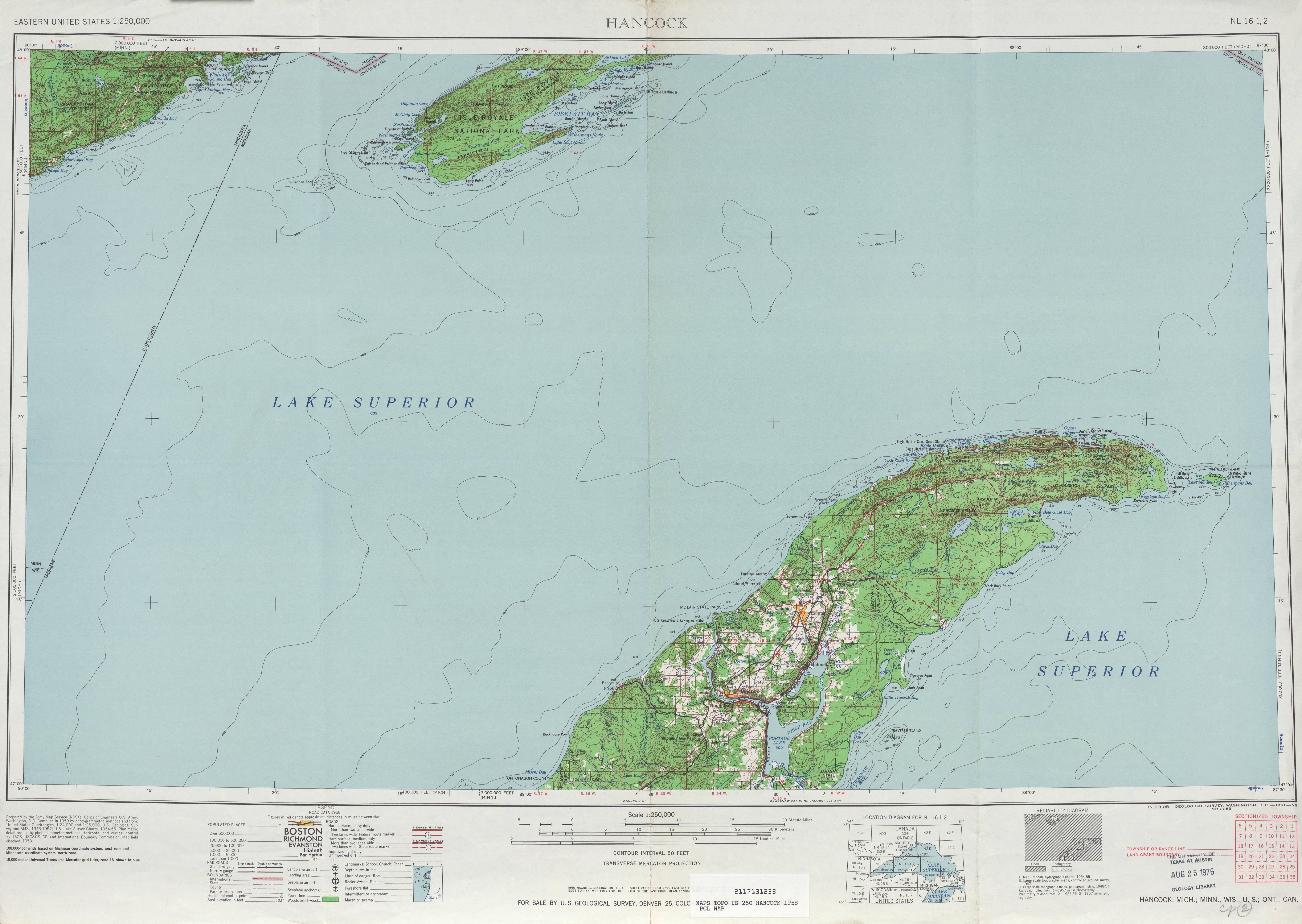 Hoja Hancock del Mapa Topográfico de los Estados Unidos 1958