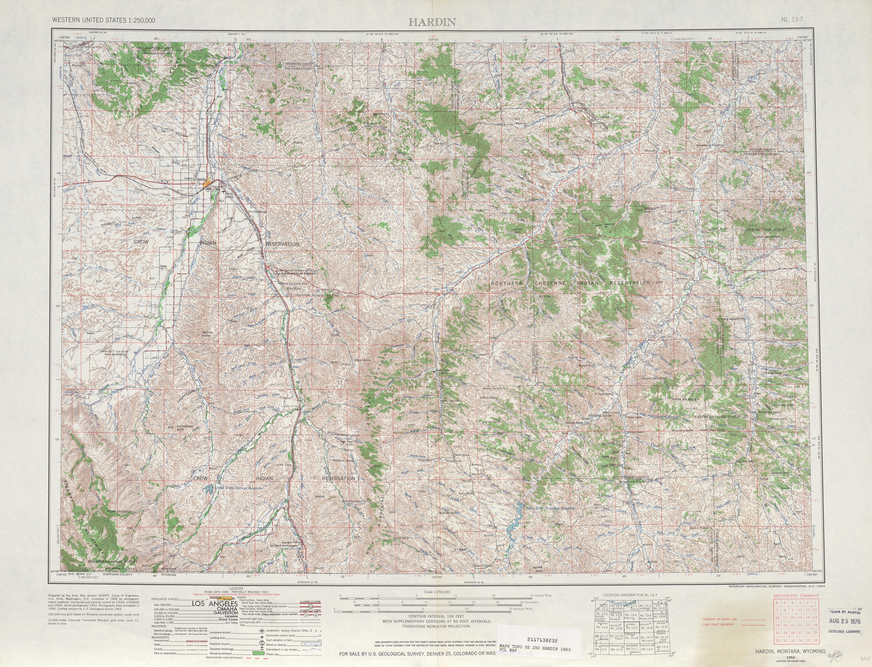 Hoja Hardin del Mapa Topográfico de los Estados Unidos 1963
