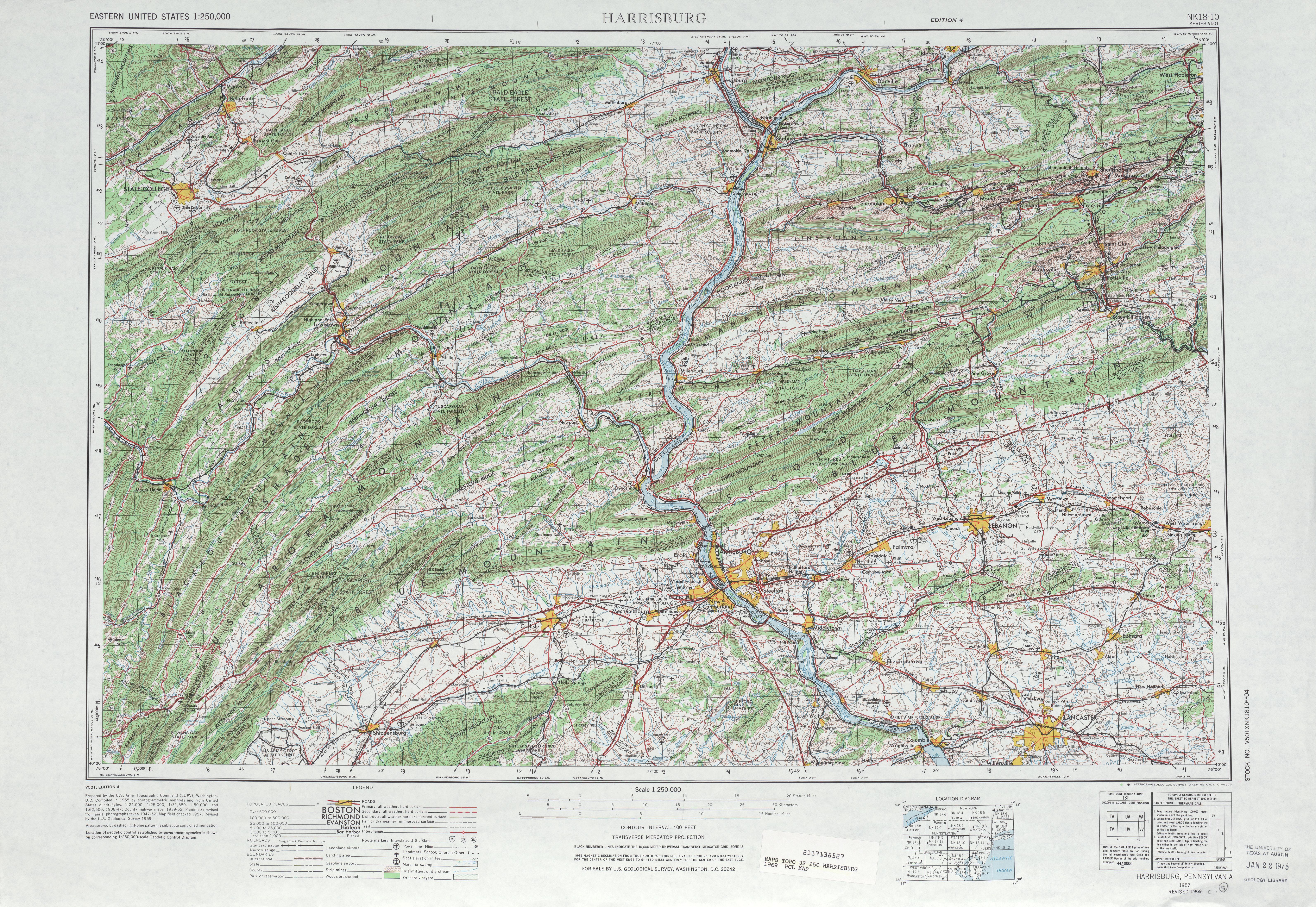 Hoja Harrisburg del Mapa Topográfico de los Estados Unidos 1969
