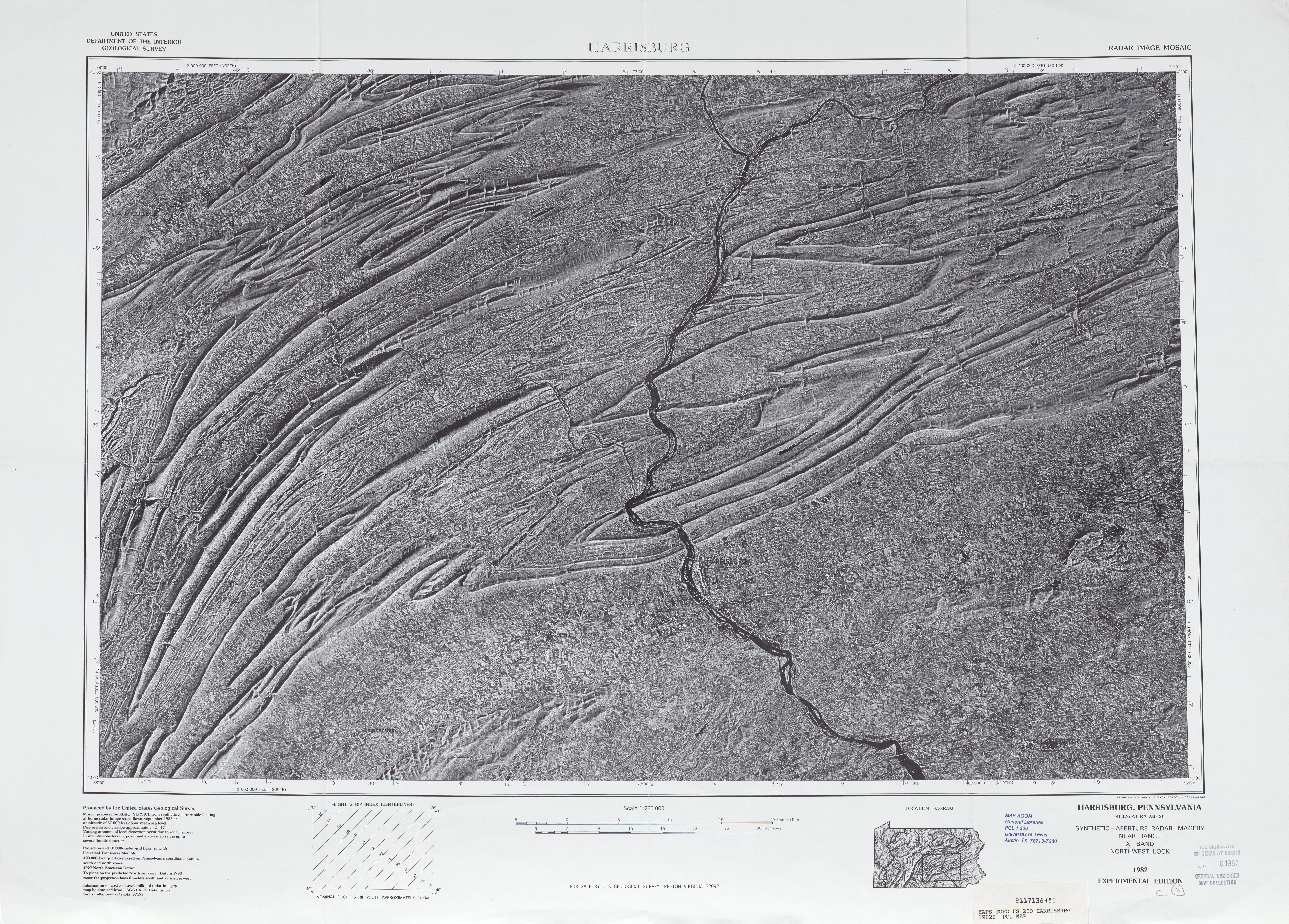 Harrisburg Radar Image Mosaic Sheet, United States 1982