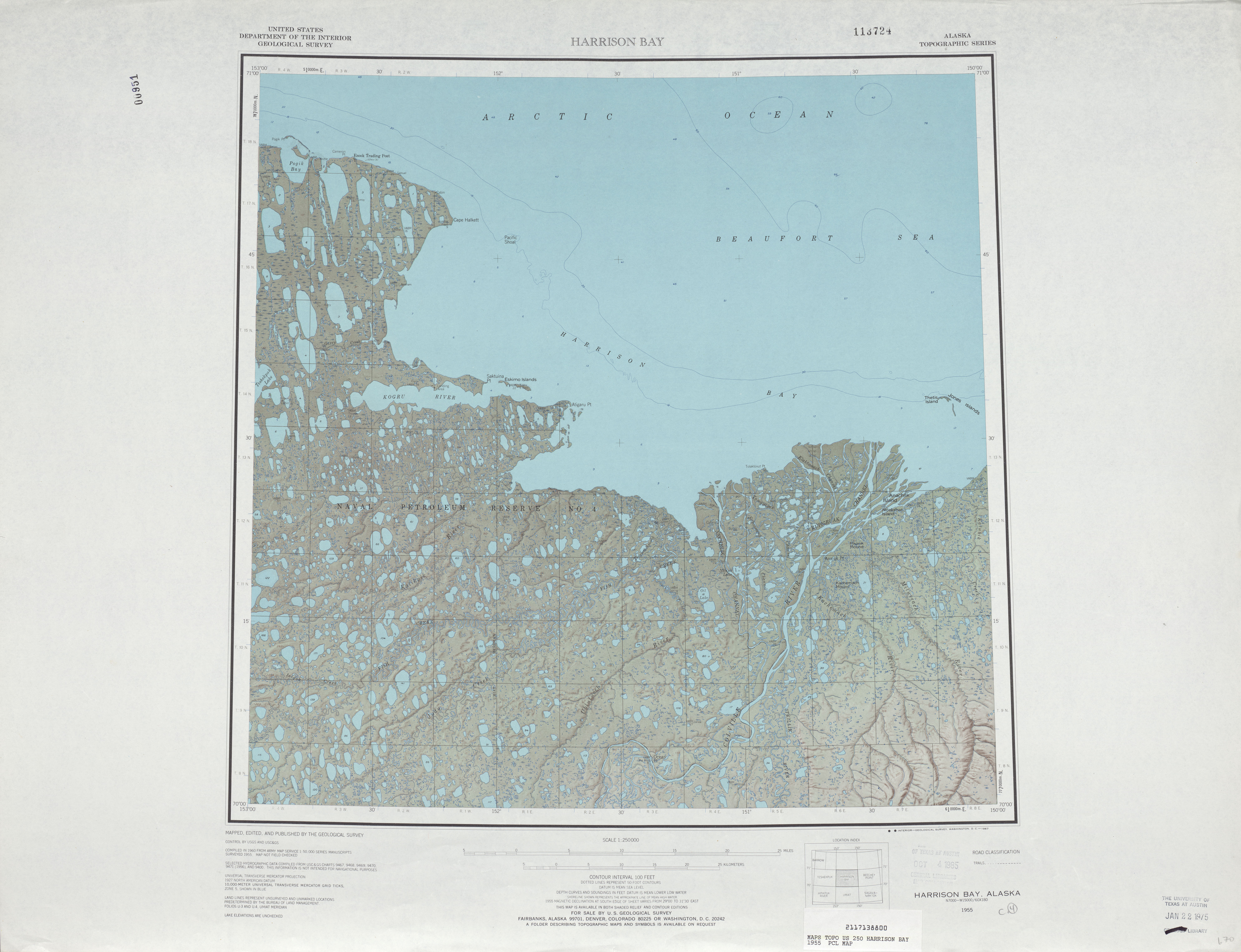 Harrison Bay Shaded Relief Map Sheet, United States 1955