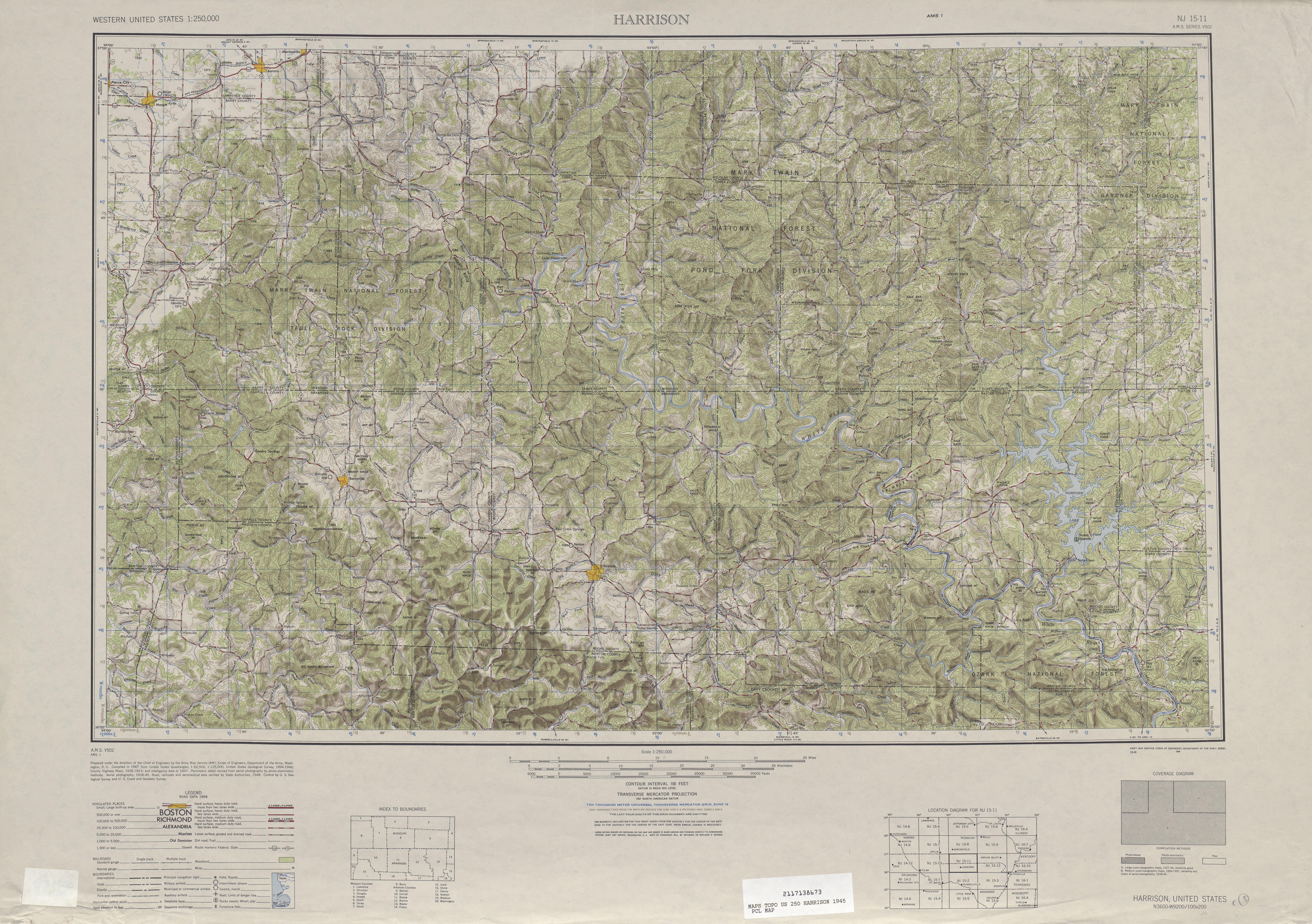 Hoja Harrison del Mapa de Relieve Sombreado de los Estados Unidos 1945