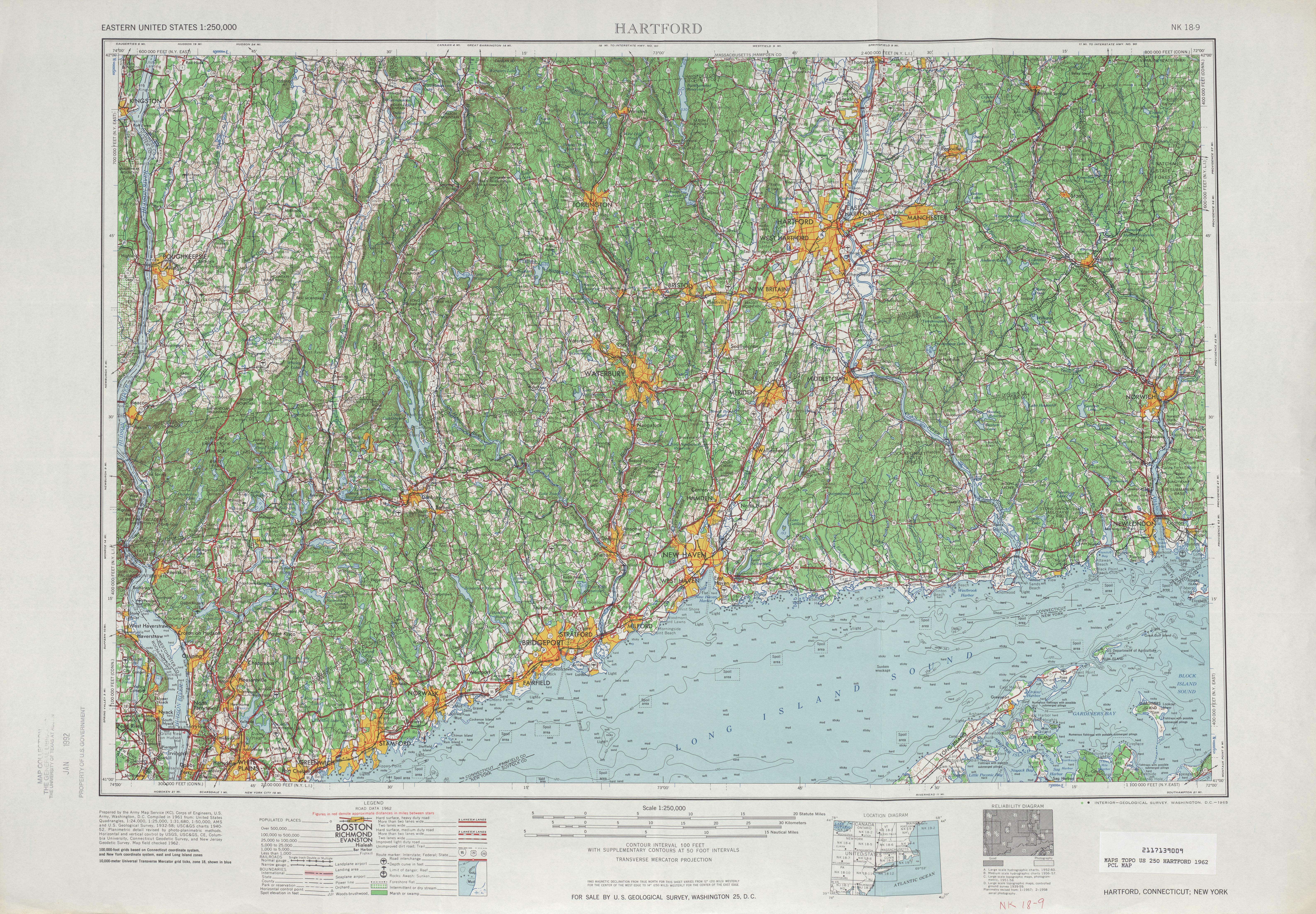 Hoja Hartford del Mapa Topográfico de los Estados Unidos 1962