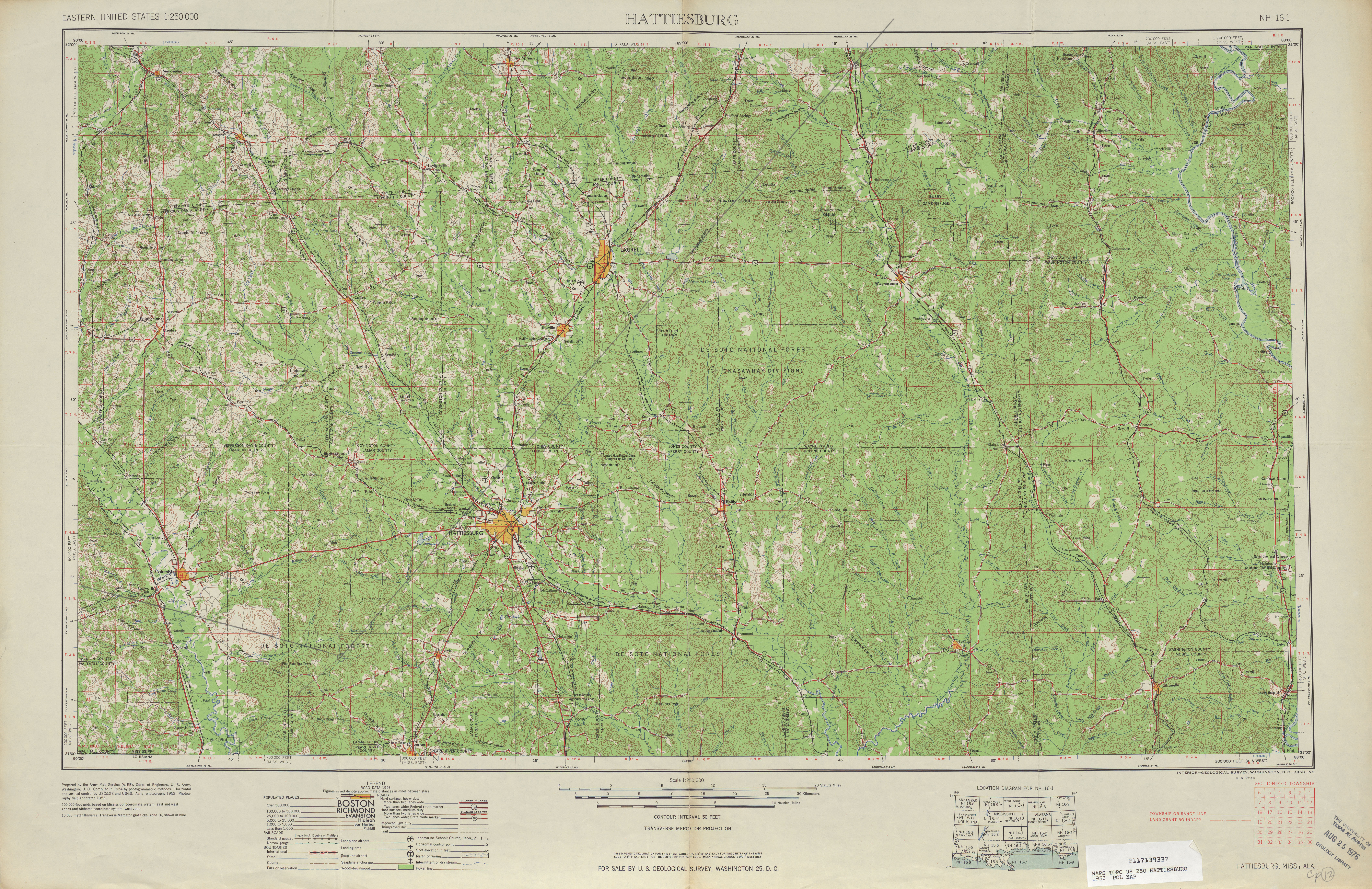 Hoja Hattiesburg del Mapa Topográfico de los Estados Unidos 1953