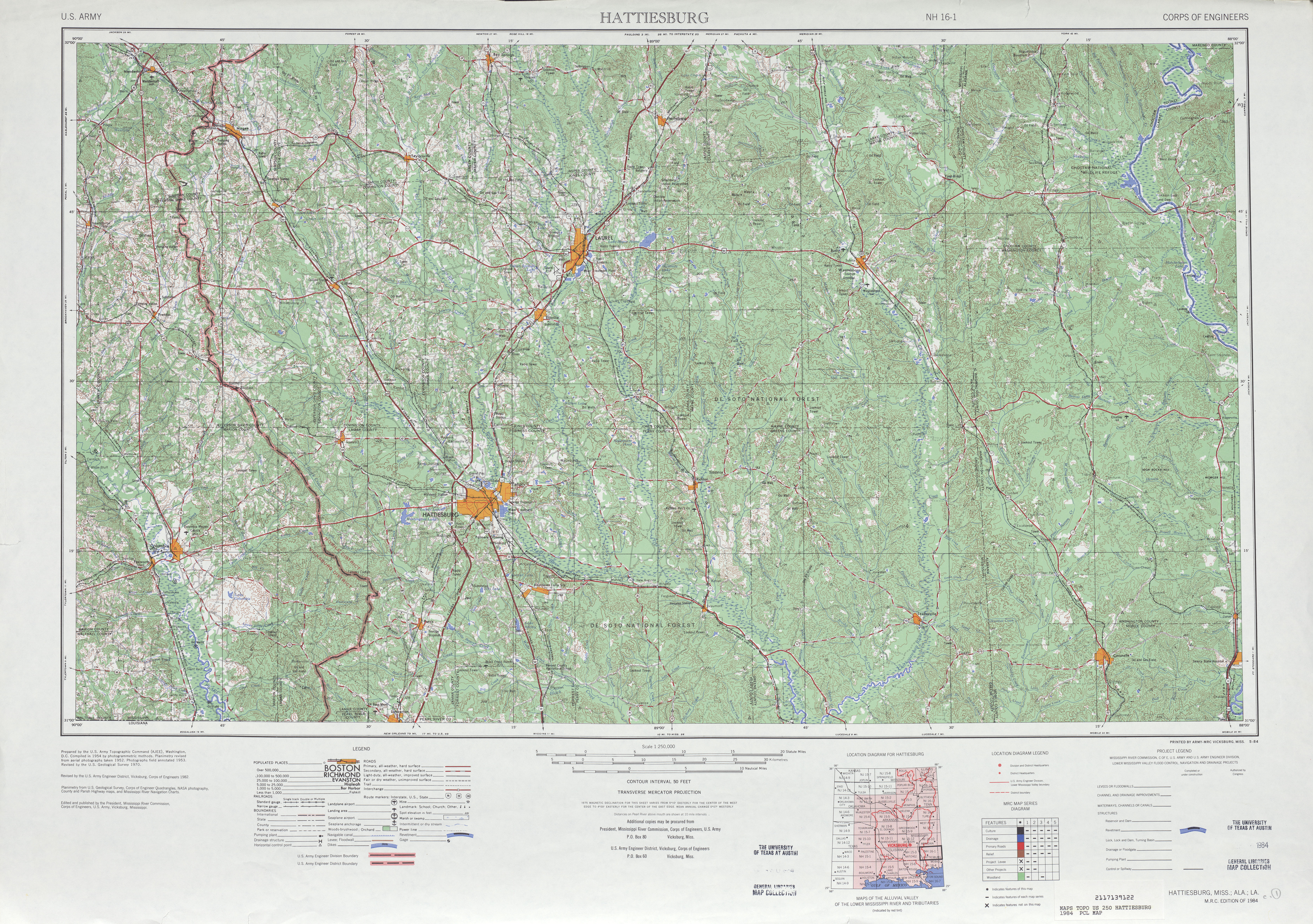 Hattiesburg Topographic Map Sheet, United States 1984