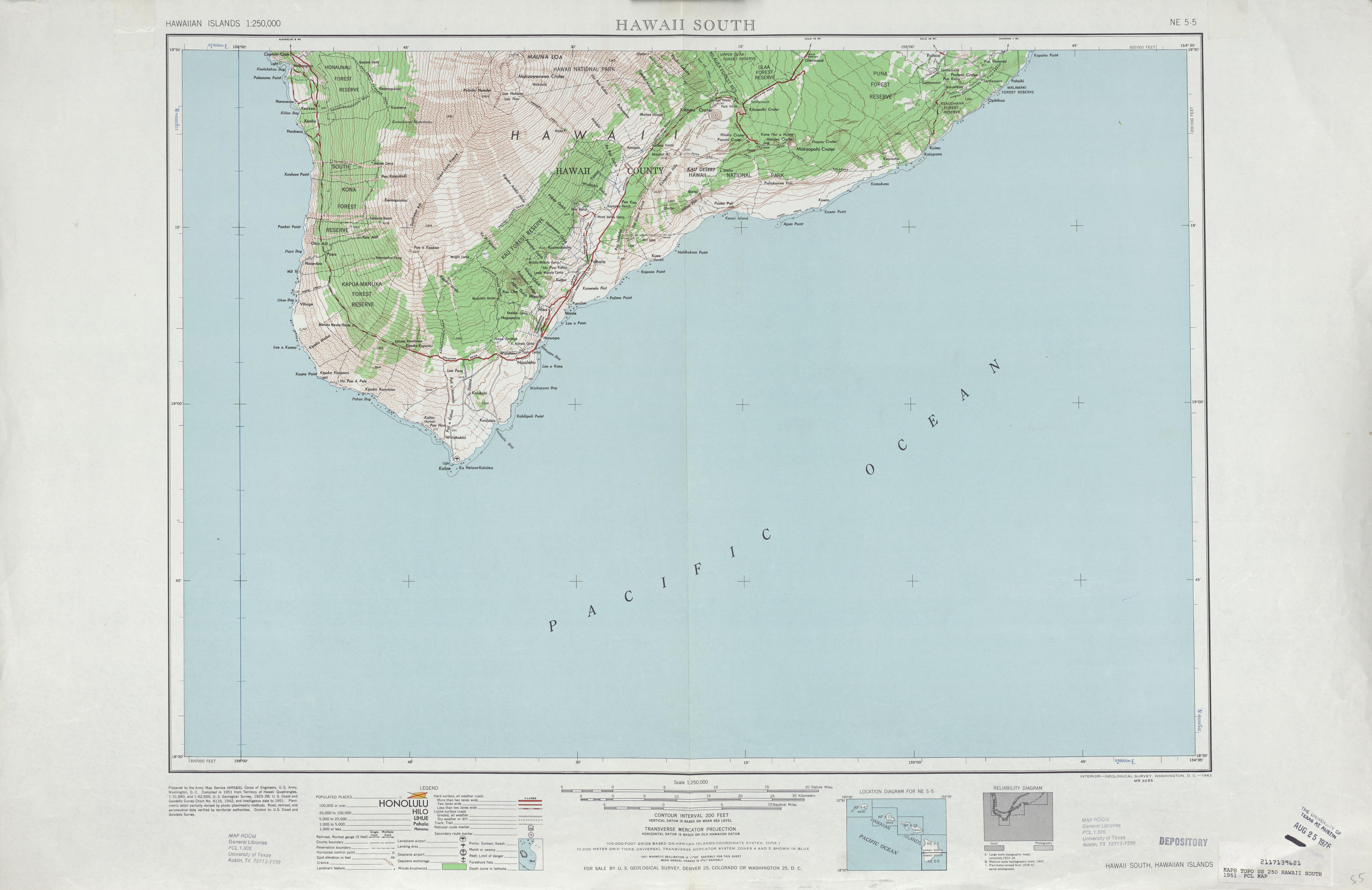 Hoja Hawái South del Mapa Topográfico de los Estados Unidos 1951