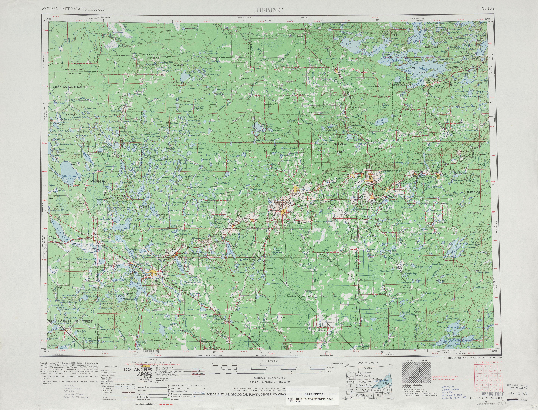 Hoja Hibbing del Mapa Topográfico de los Estados Unidos 1965