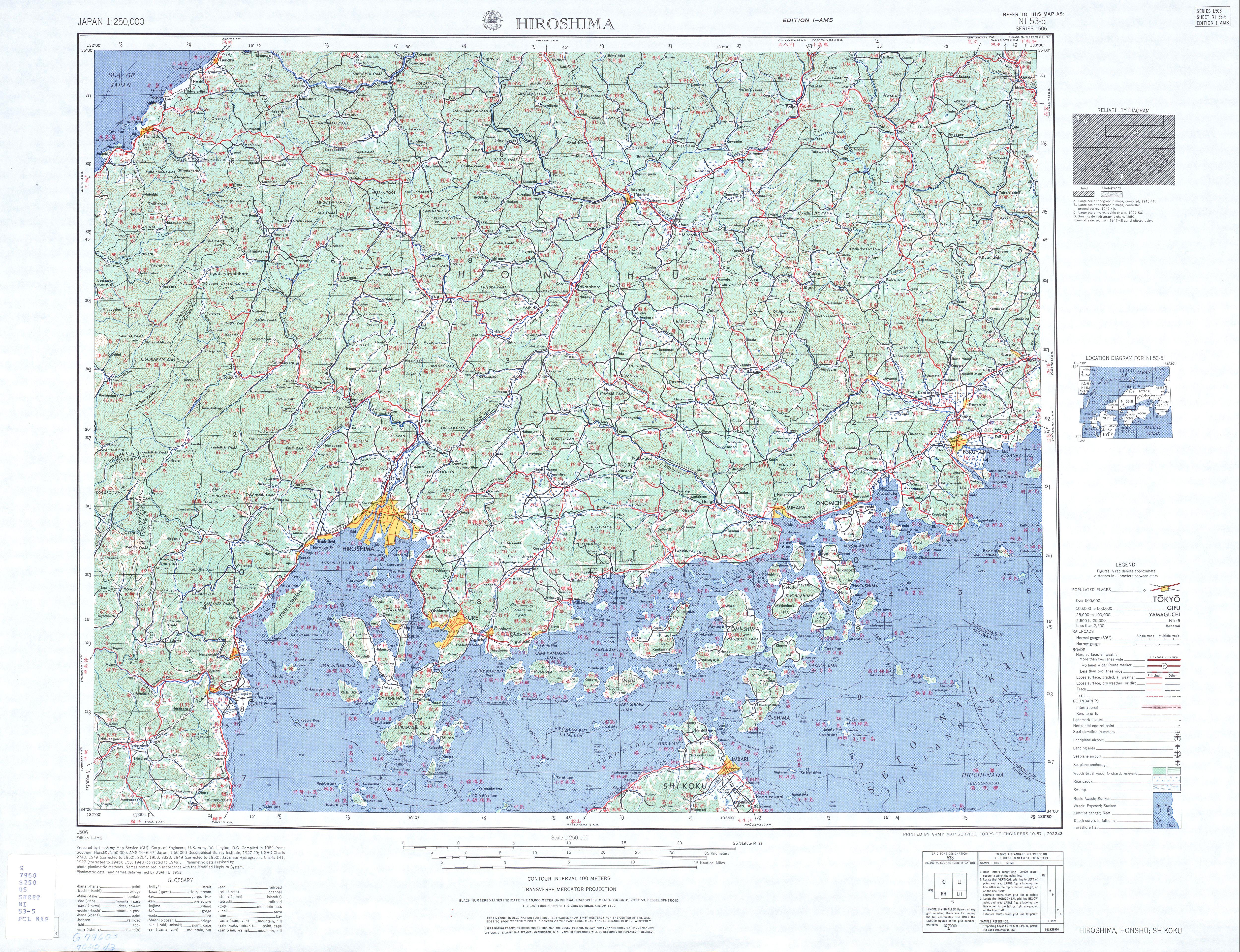 Hiroshima Topographic Map Sheet, Japan 1954