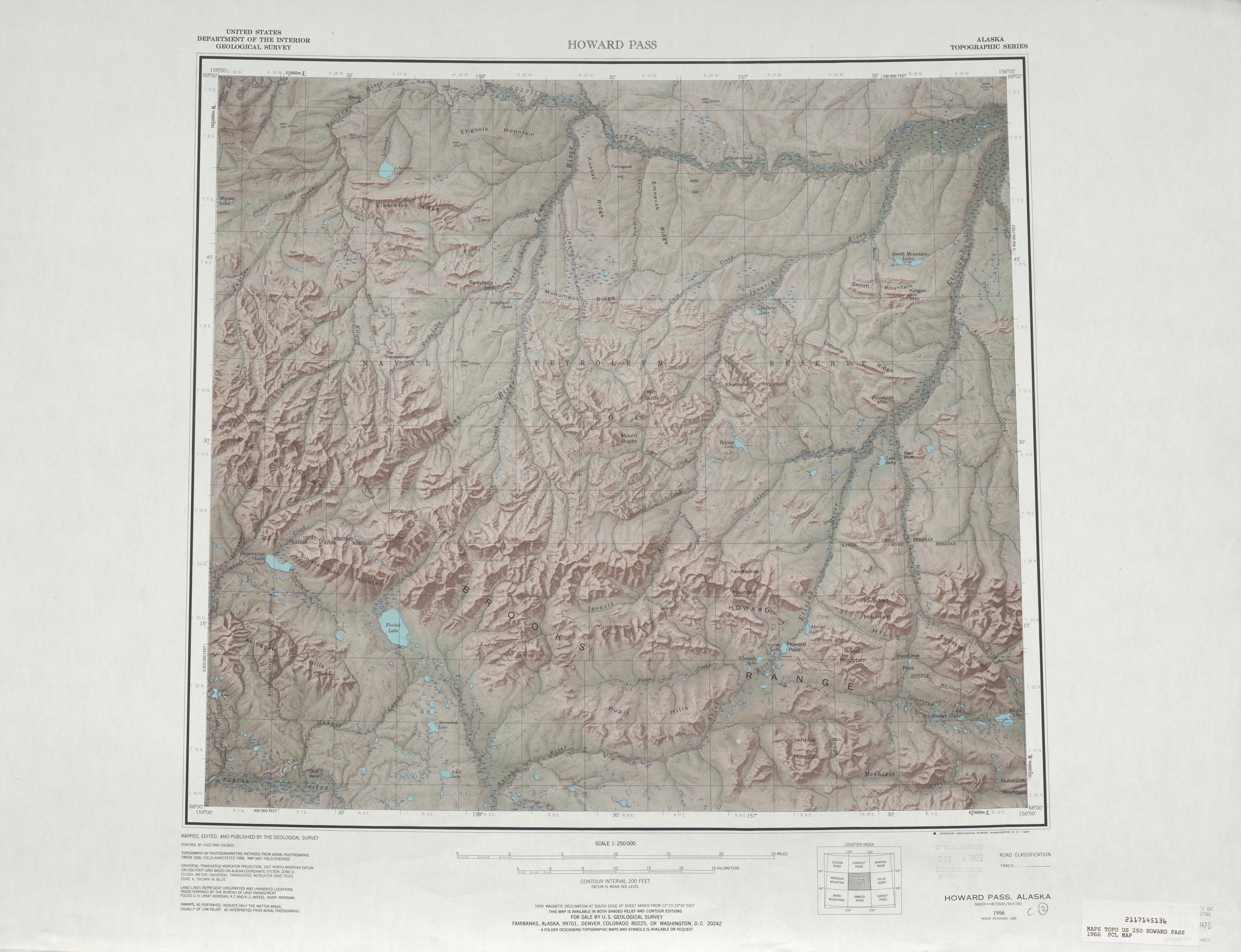 Hoja HoGuerrad Pass del Mapa de Relieve Sombreado de los Estados Unidos 1966