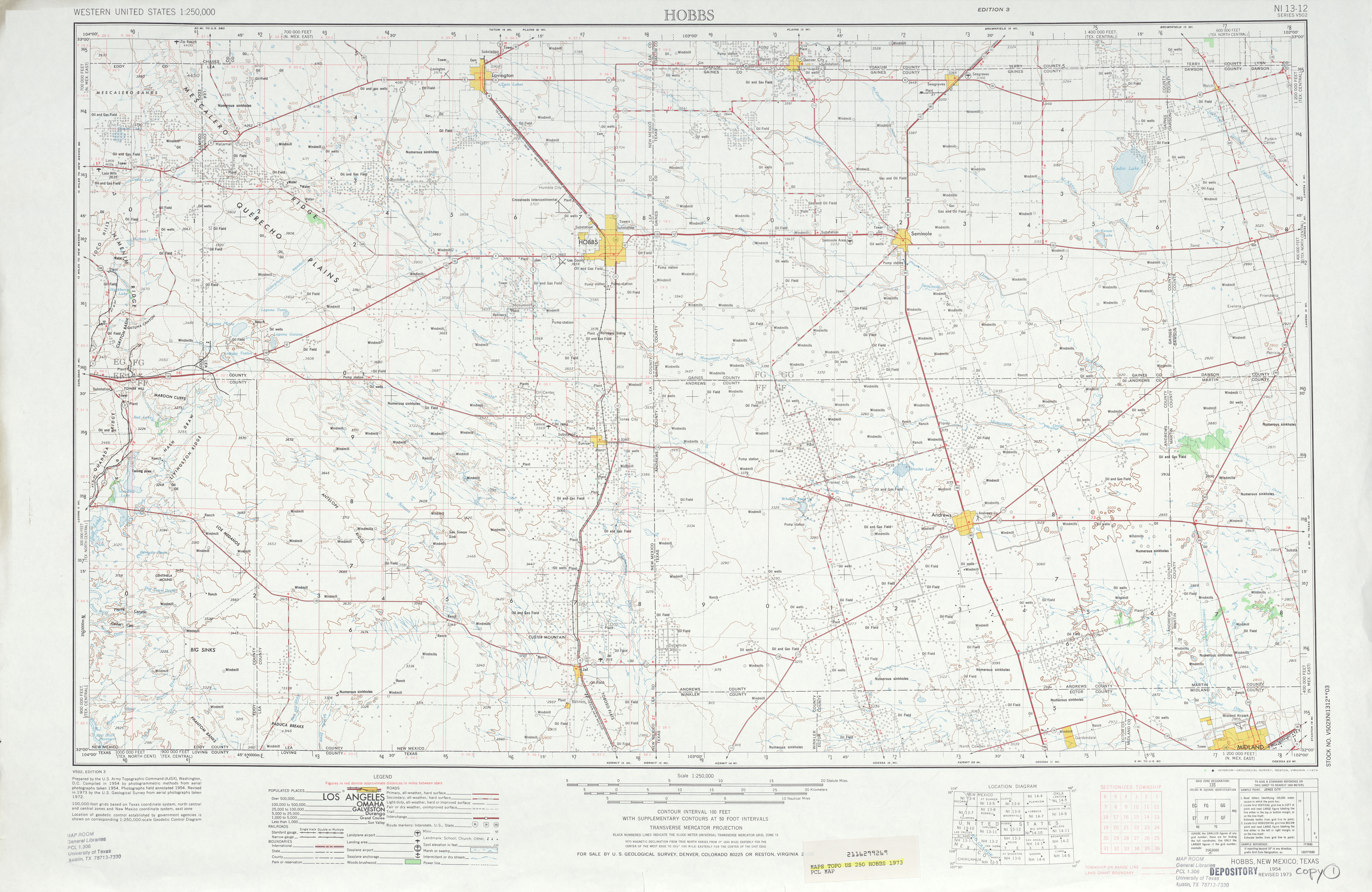 Hobbs Topographic Map Sheet, United States 1973