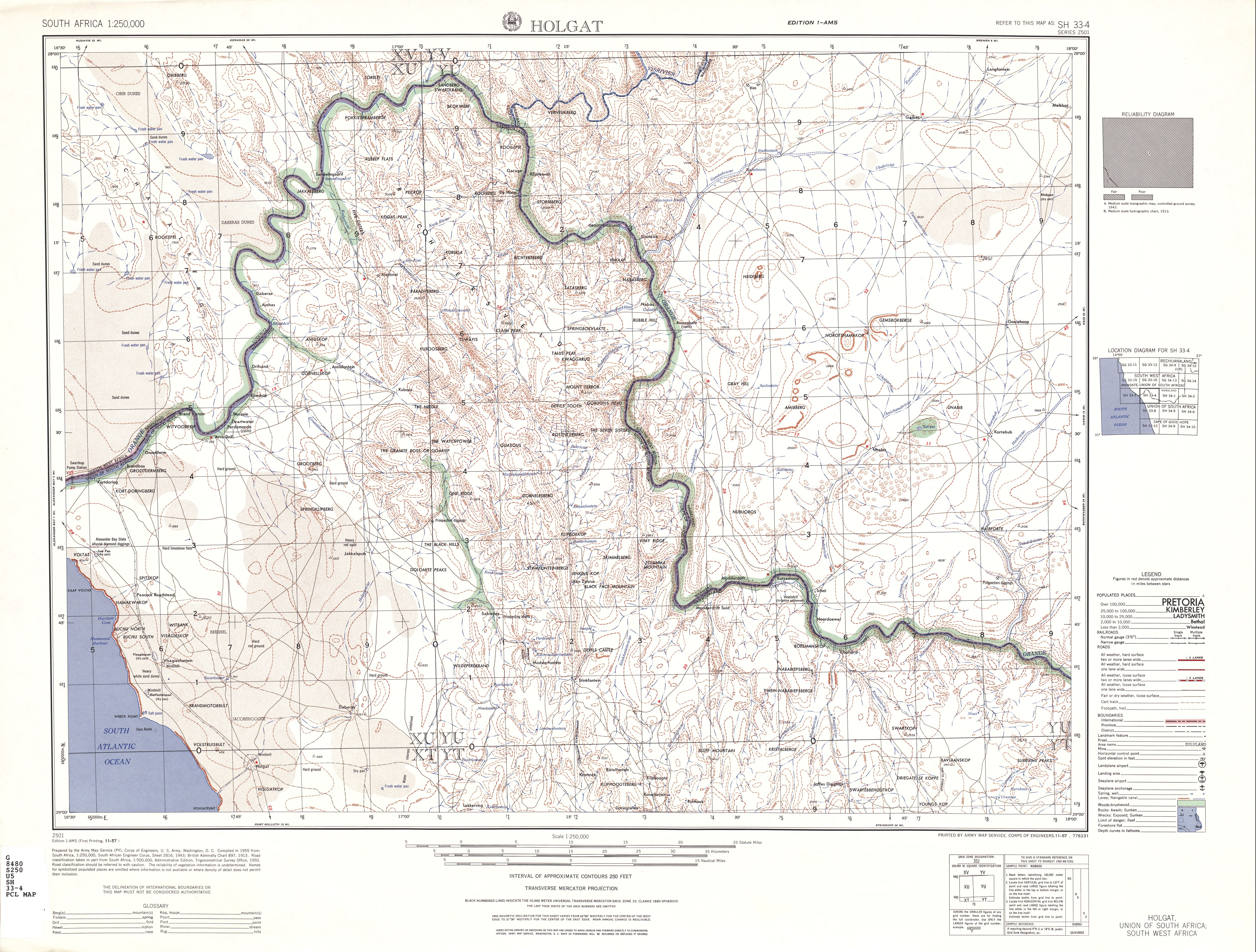 Holgat Topographic Map Sheet, Southern Africa 1954