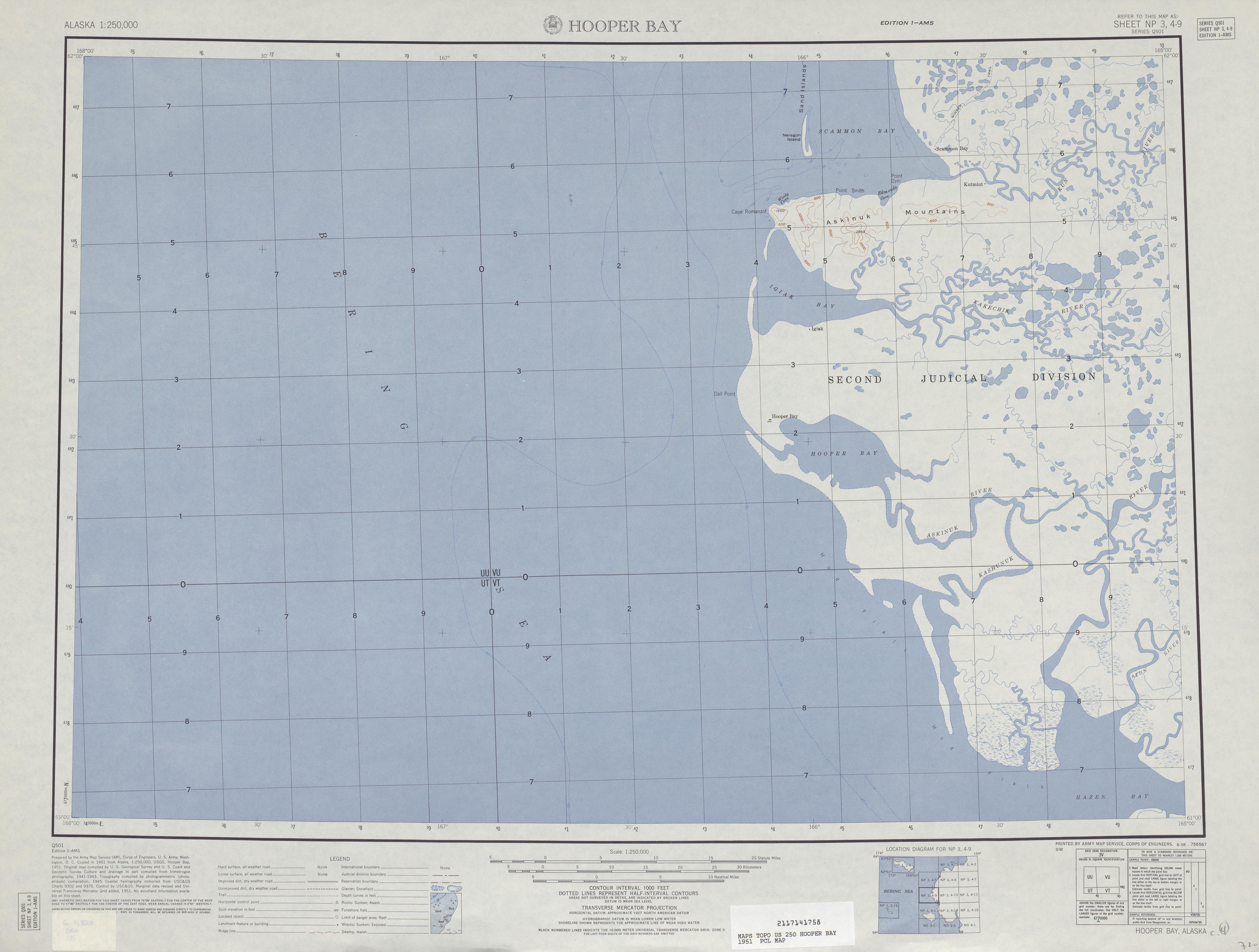 Hoja Hooper Bay del Mapa de Relieve Sombreado de los Estados Unidos 1951