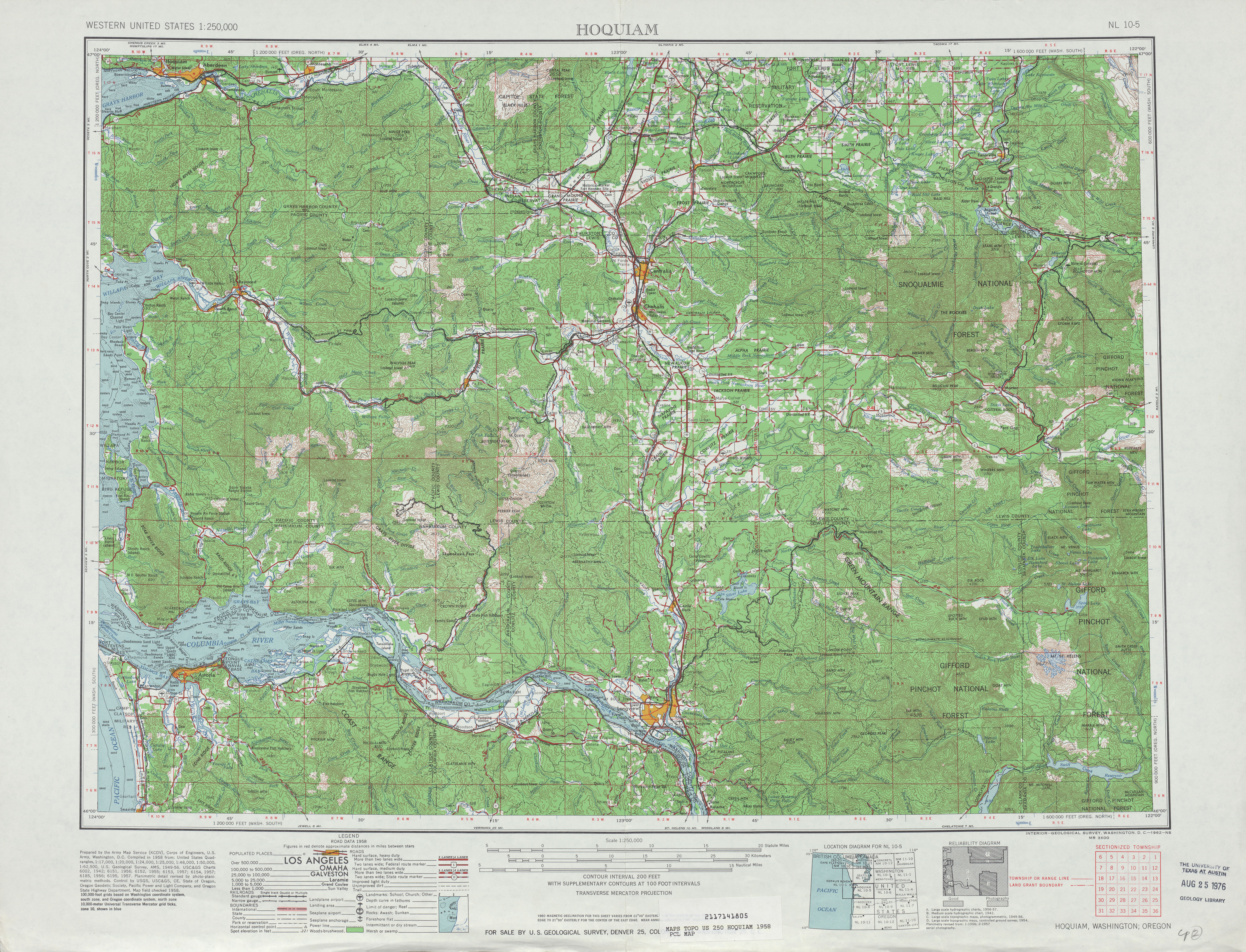 Hoquiam Topographic Map Sheet, United States 1958