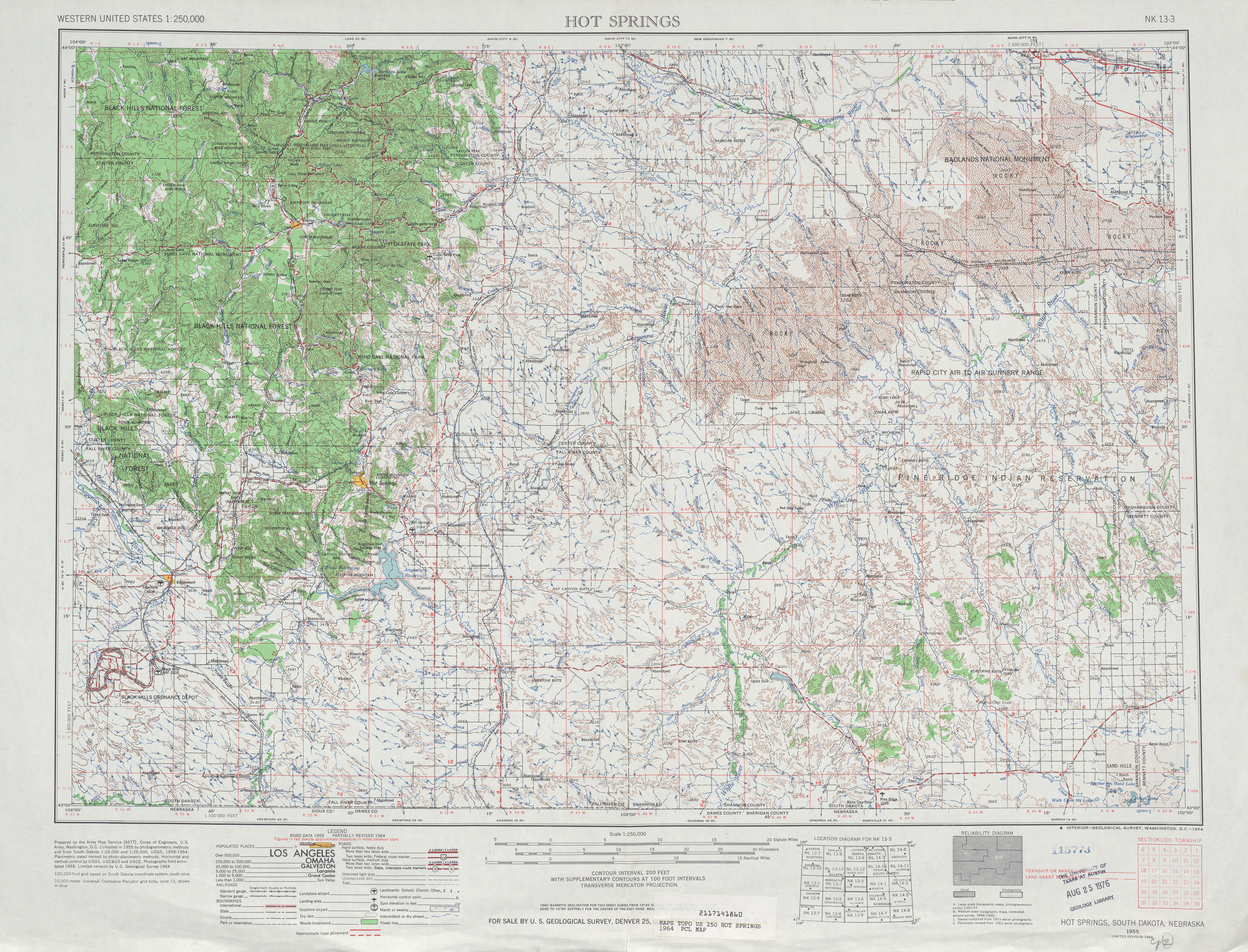 Hoja Hot Springs del Mapa Topográfico de los Estados Unidos 1964