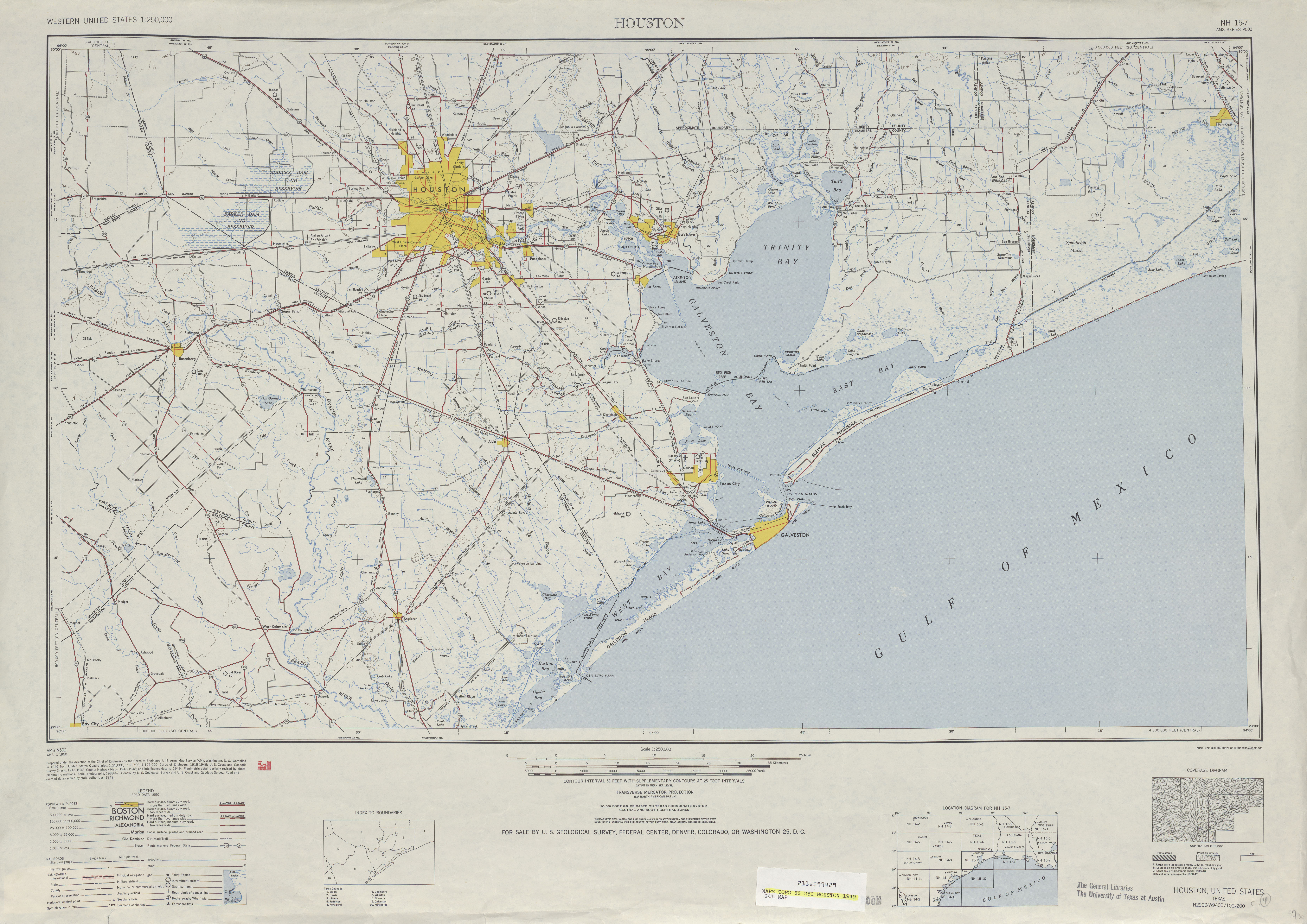 Hoja Houston del Mapa Topográfico de los Estados Unidos 1949