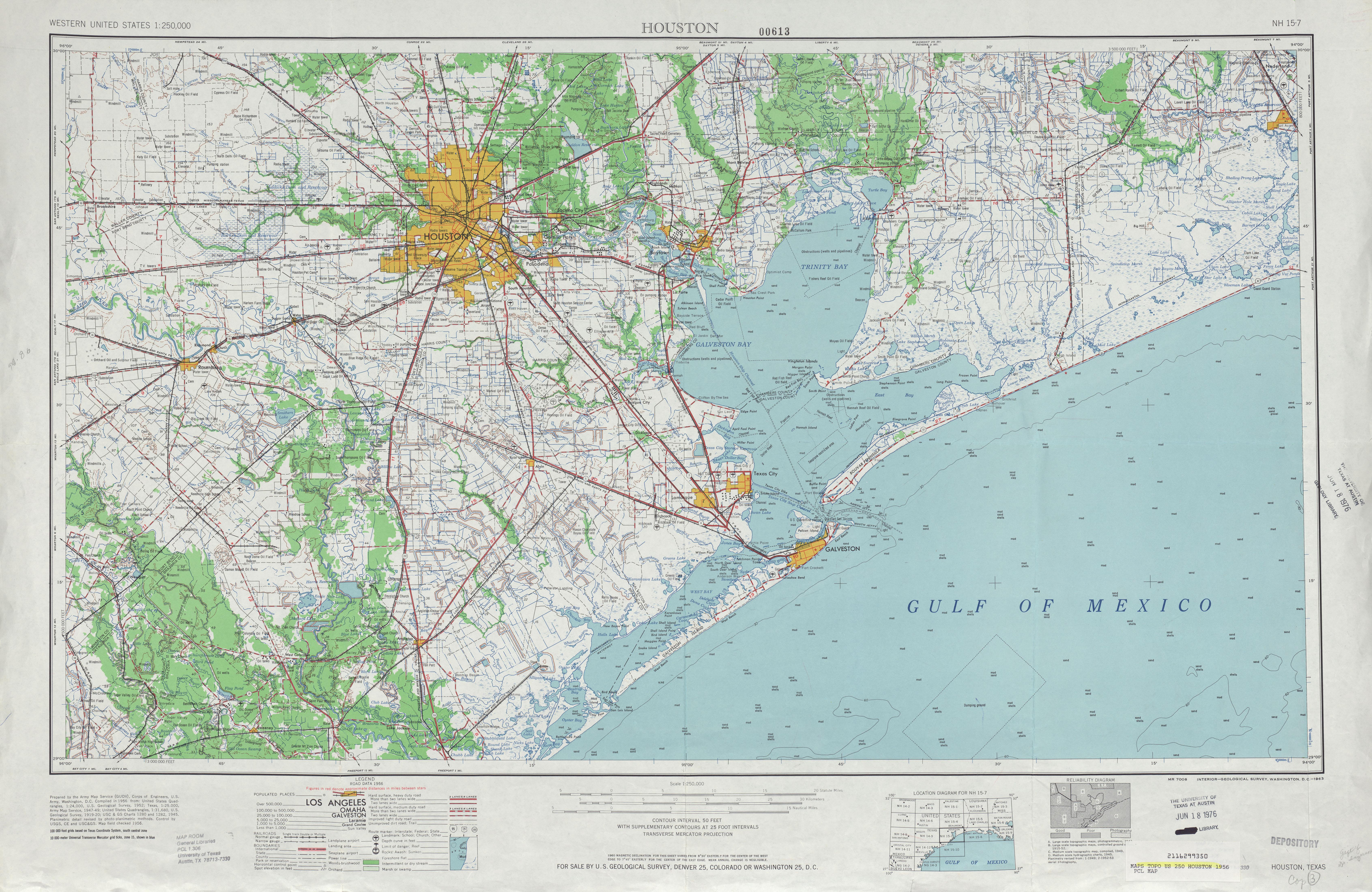 Hoja Houston del Mapa Topográfico de los Estados Unidos 1956
