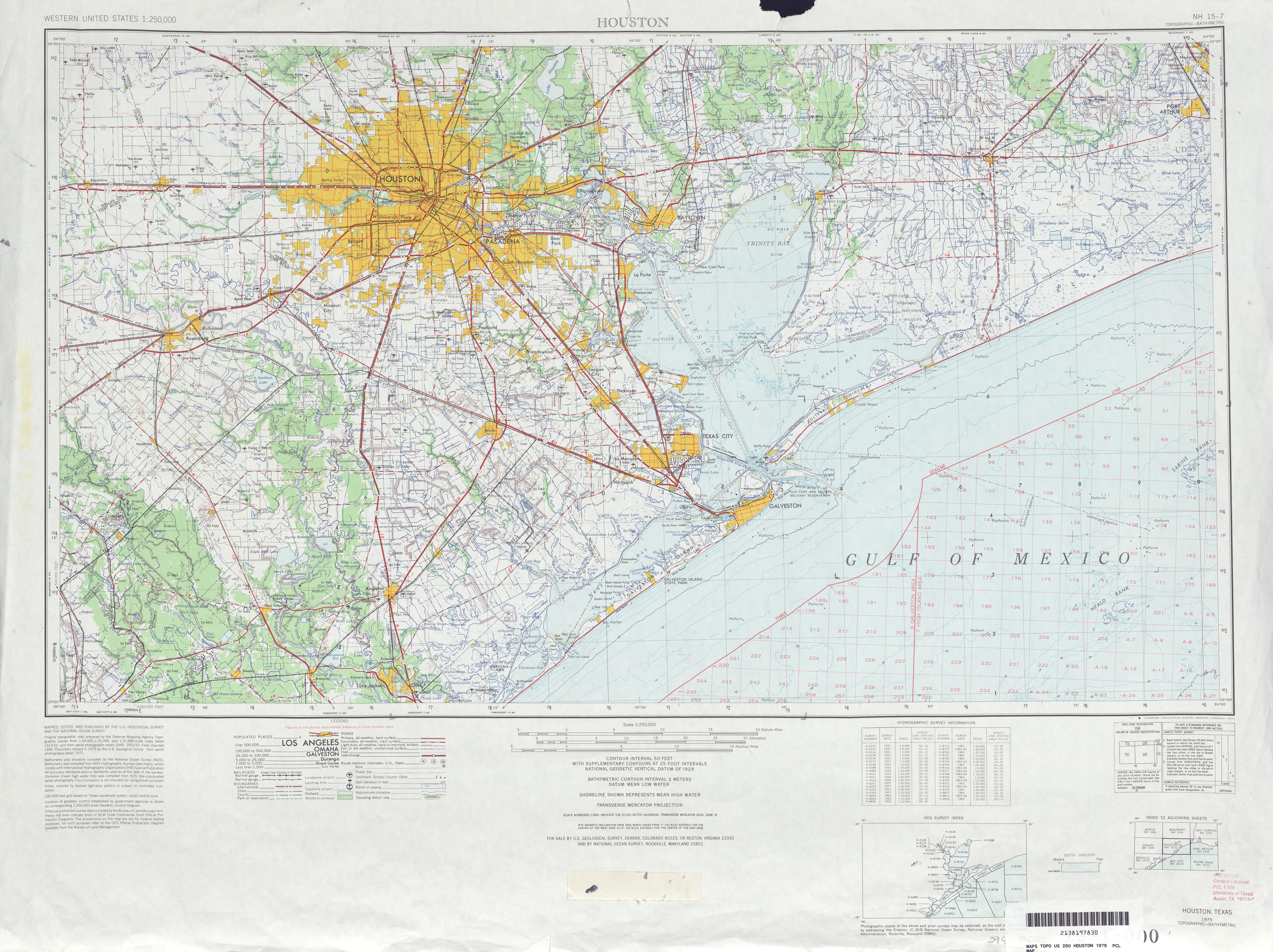 Hoja Houston del Mapa Topográfico de los Estados Unidos 1975