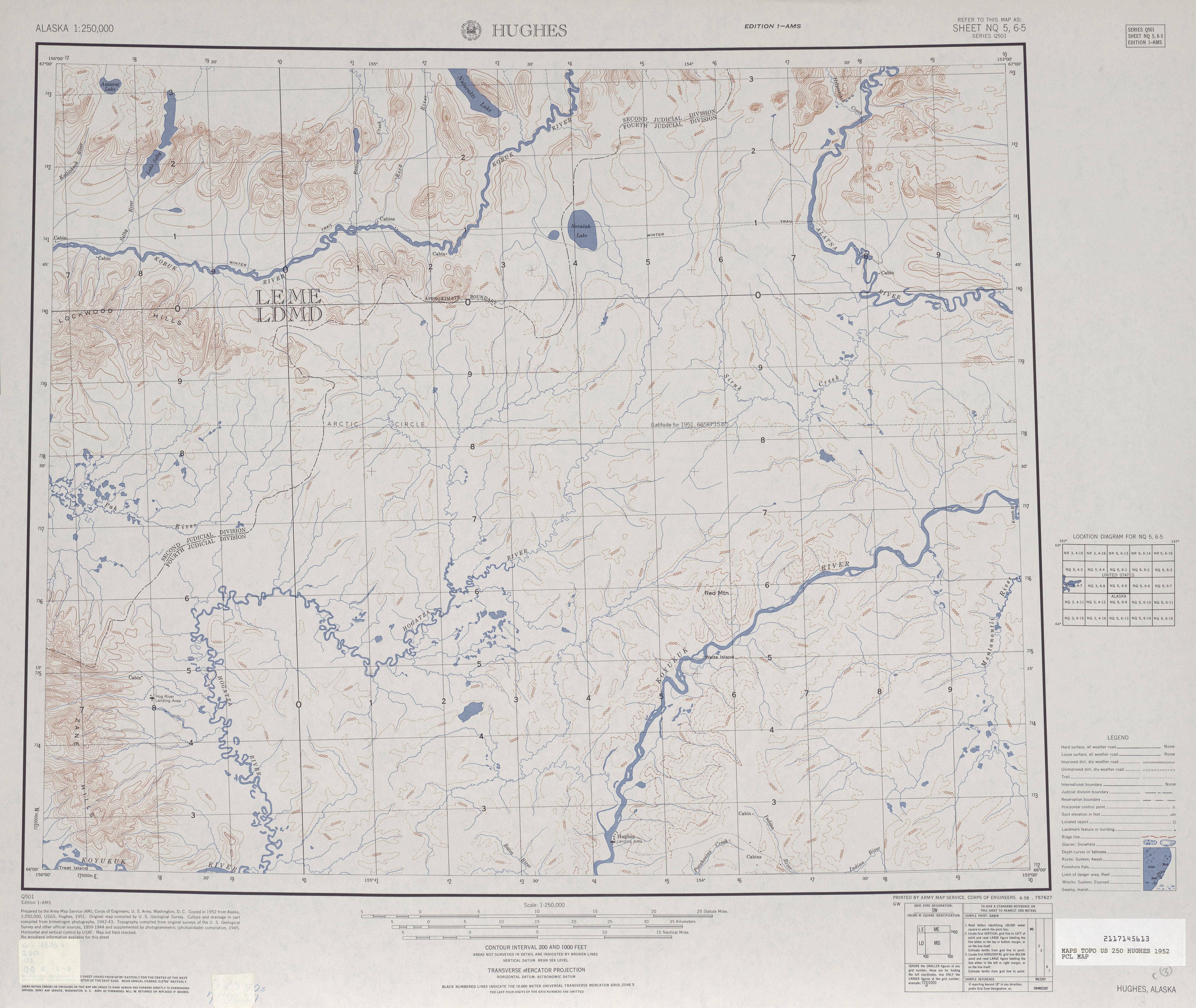 Hoja Hughes del Mapa Topográfico de los Estados Unidos 1952