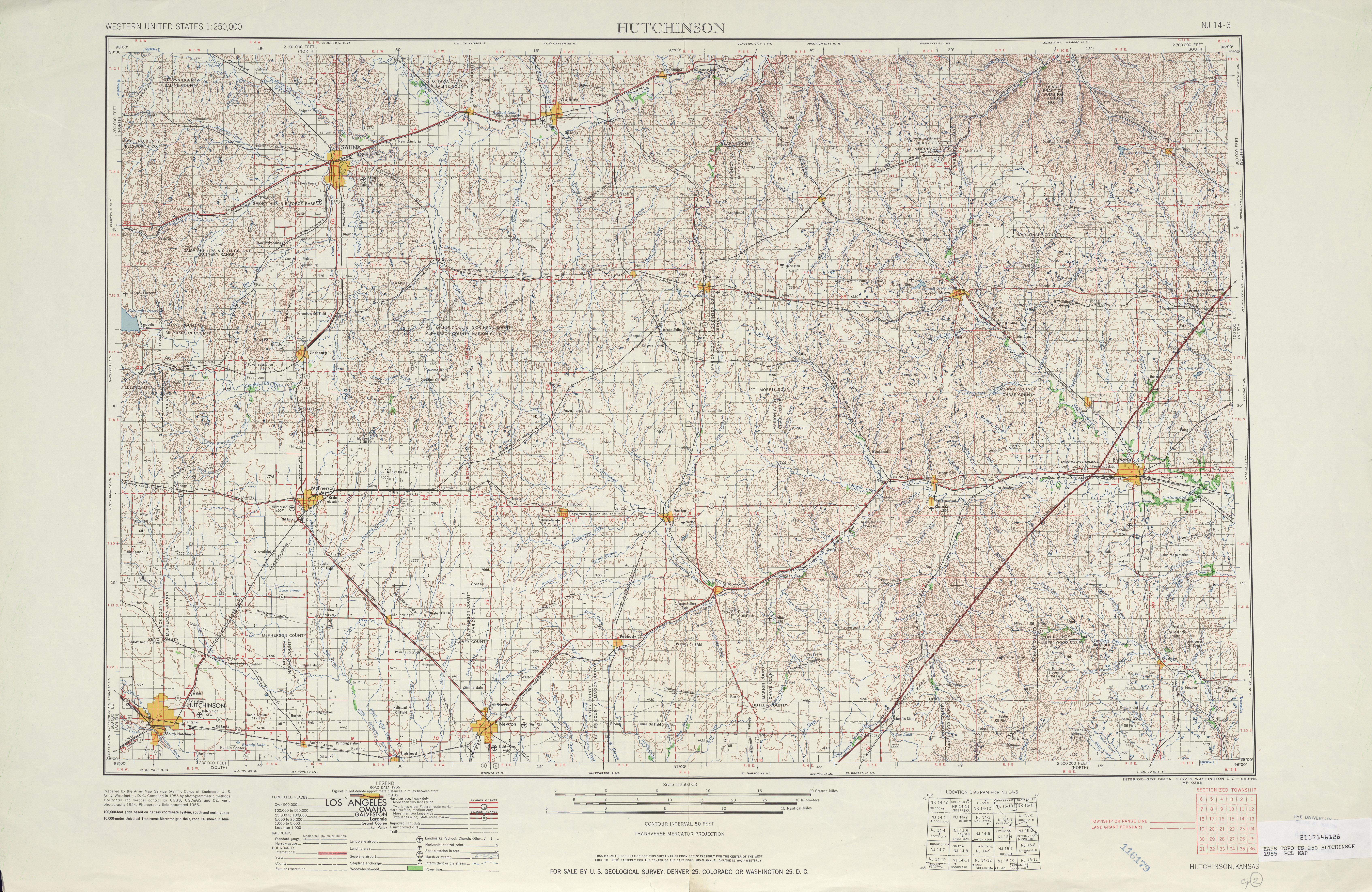Hoja Hutchinson del Mapa Topográfico de los Estados Unidos 1955