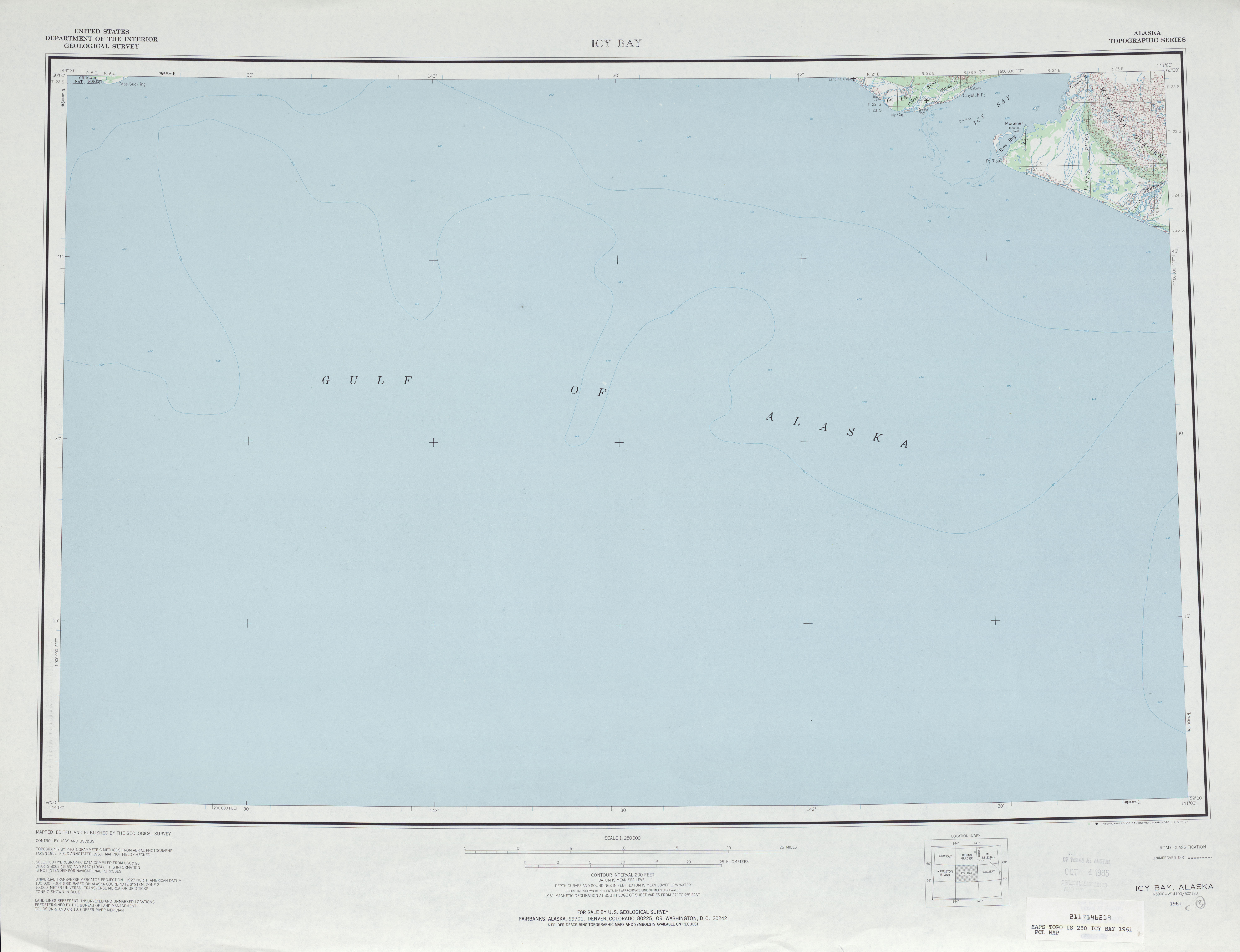 Icy Bay Topographic Map Sheet, United States 1961