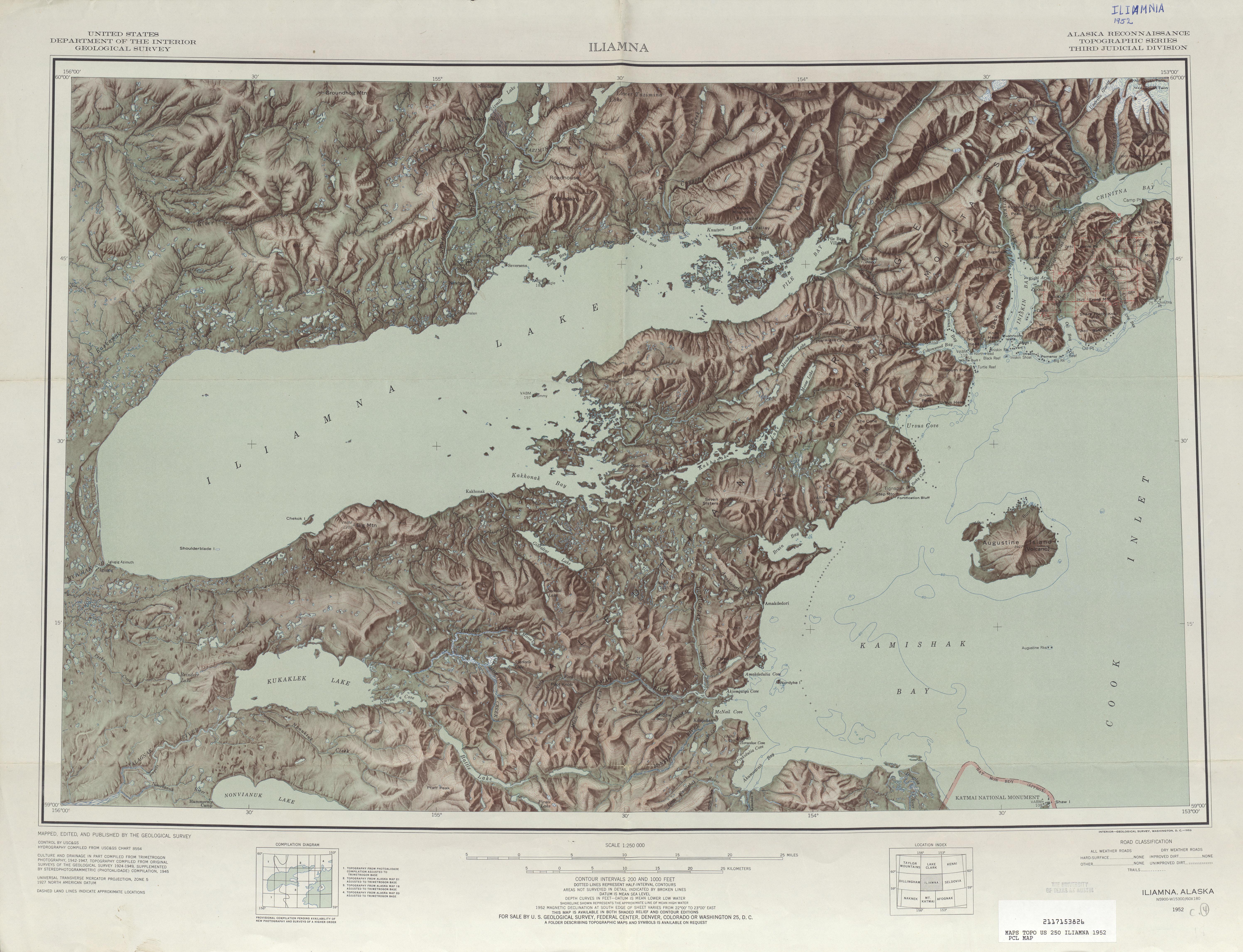Hoja Iliamna del Mapa de Relieve Sombreado de los Estados Unidos 1952