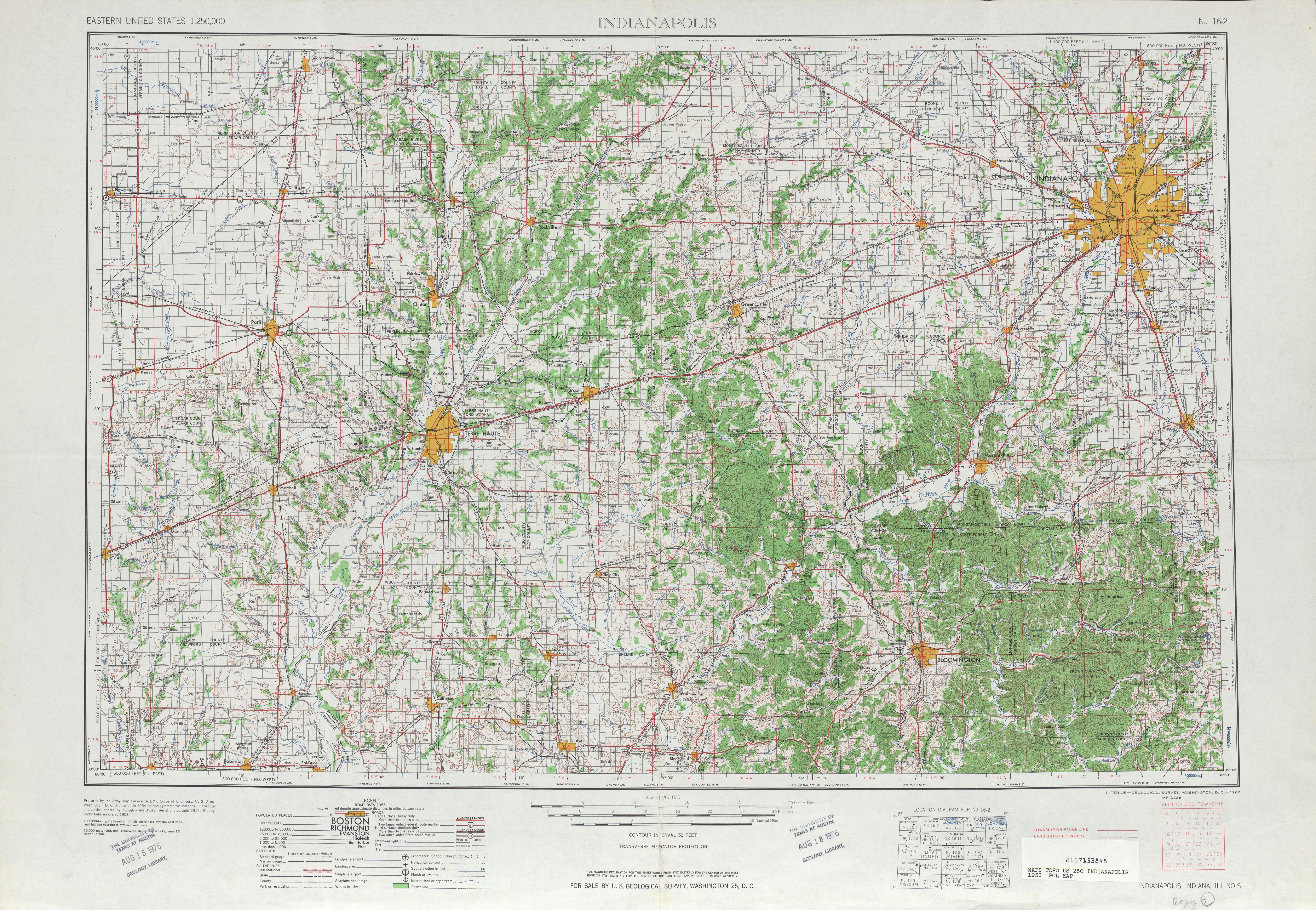 Hoja Indianapolis del Mapa Topográfico de los Estados Unidos 1953
