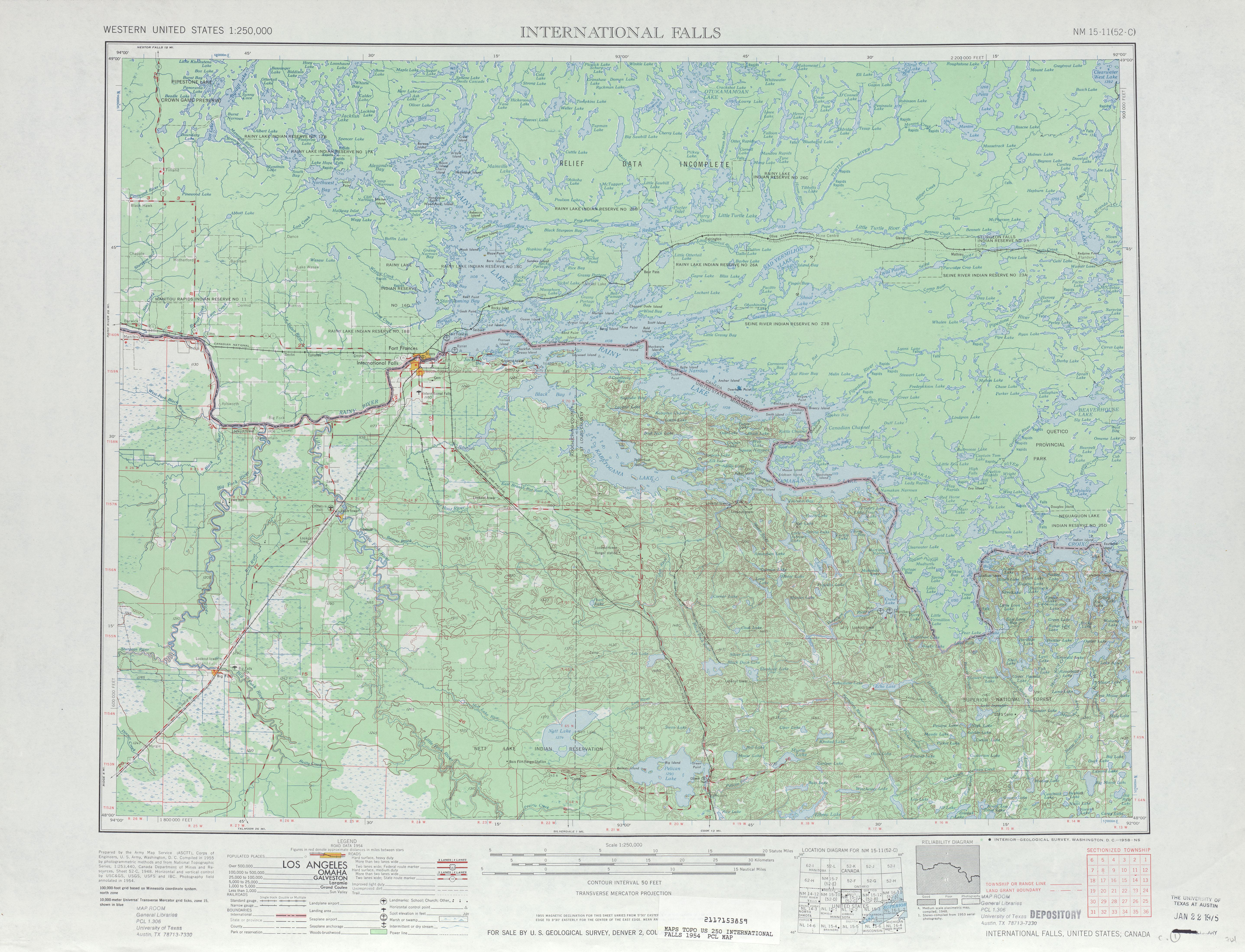 Hoja International Falls del Mapa Topográfico de los Estados Unidos 1954