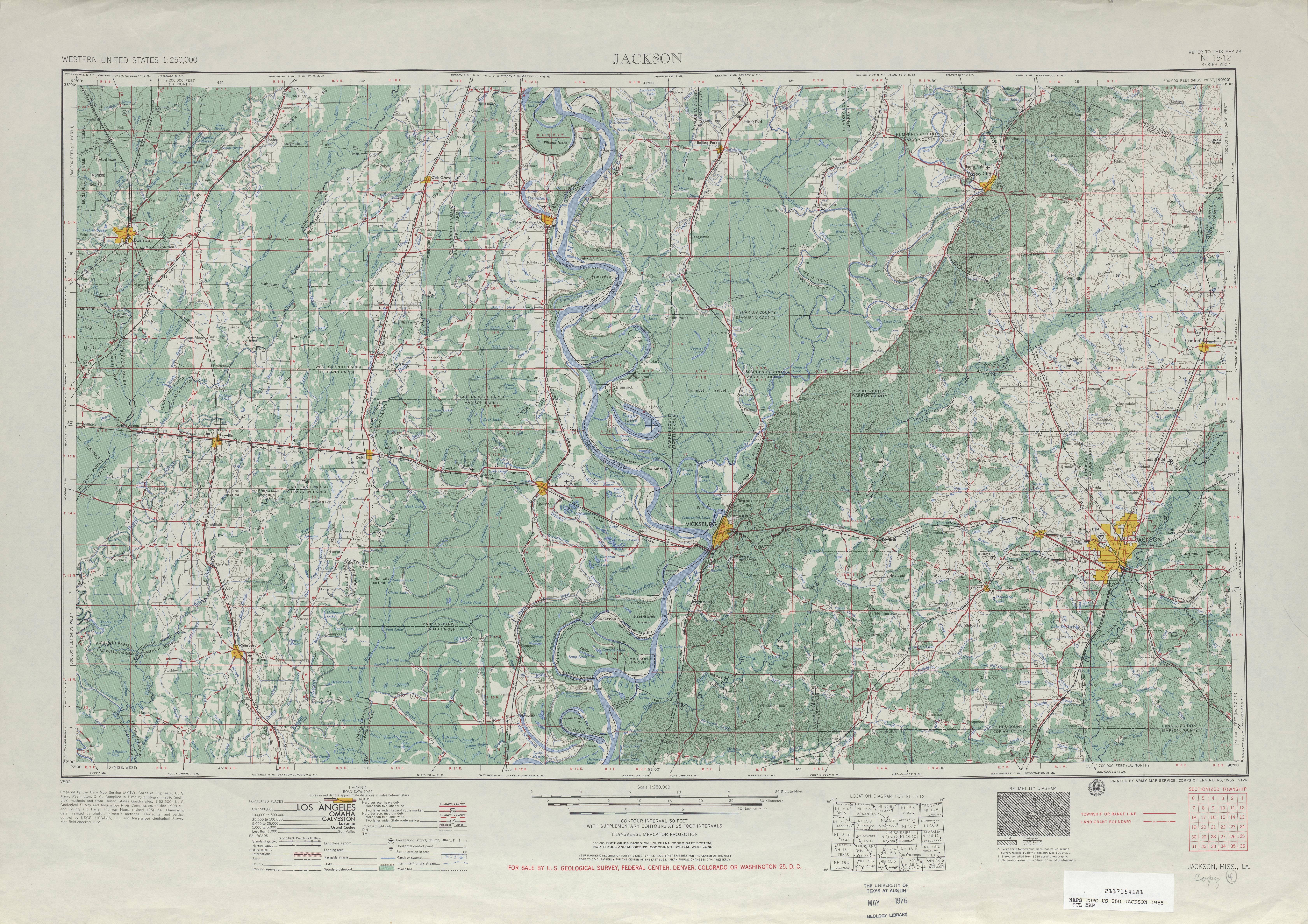 Hoja Jackson del Mapa Topográfico de los Estados Unidos 1955