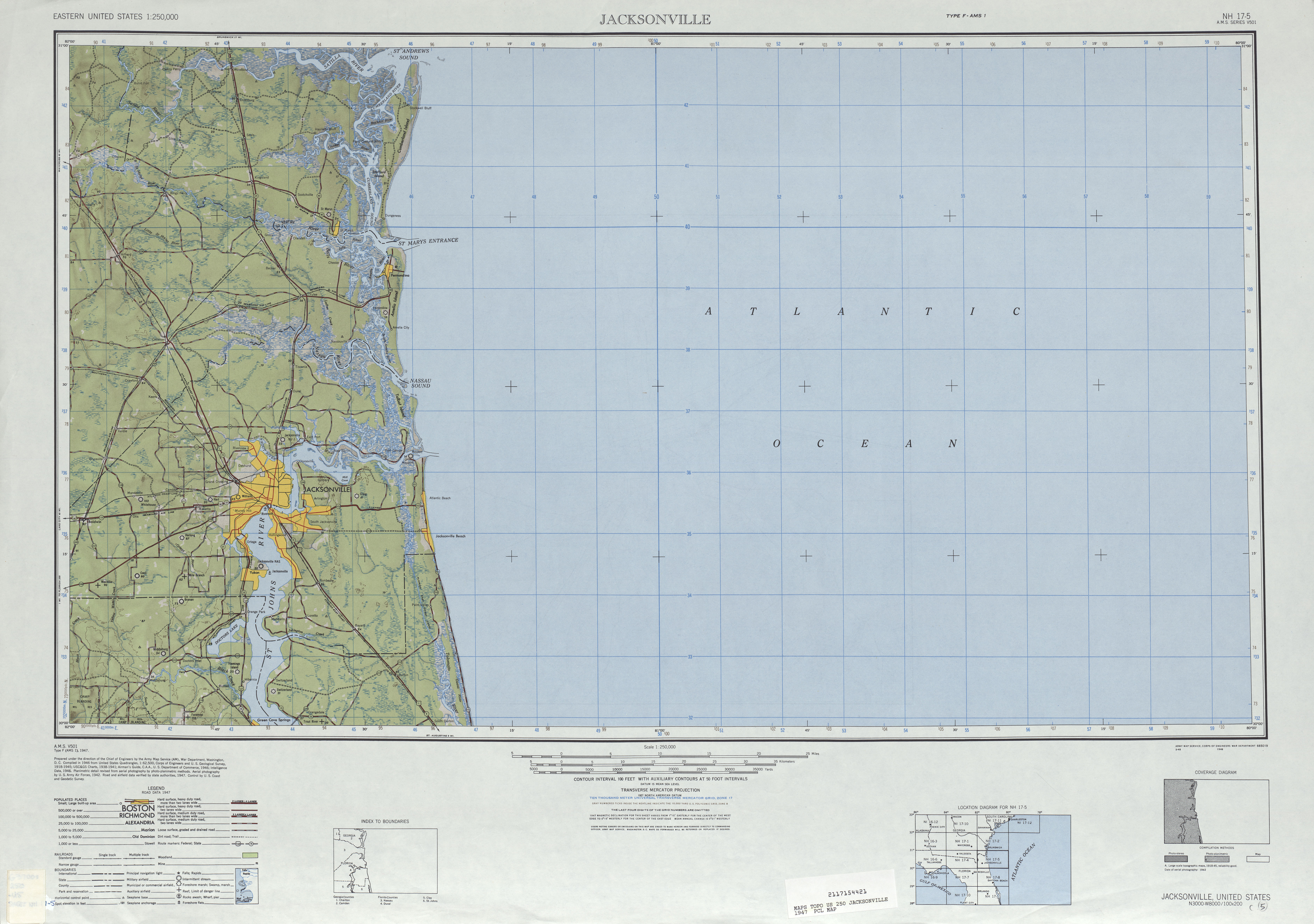Jacksonville Shaded Relief Map Sheet, United States 1947