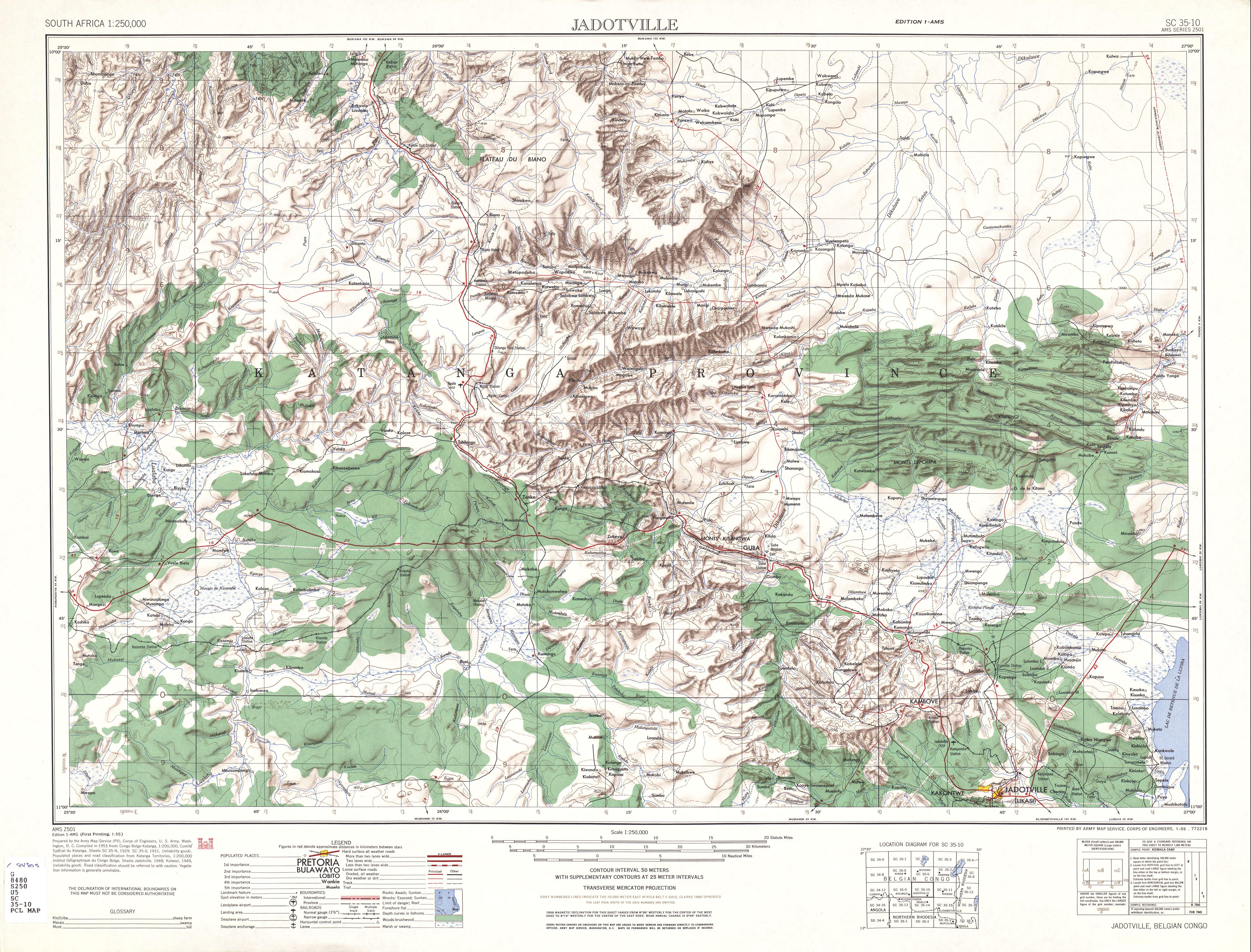 Hoja Jadotville del Mapa Topográfico de África Meridional 1954