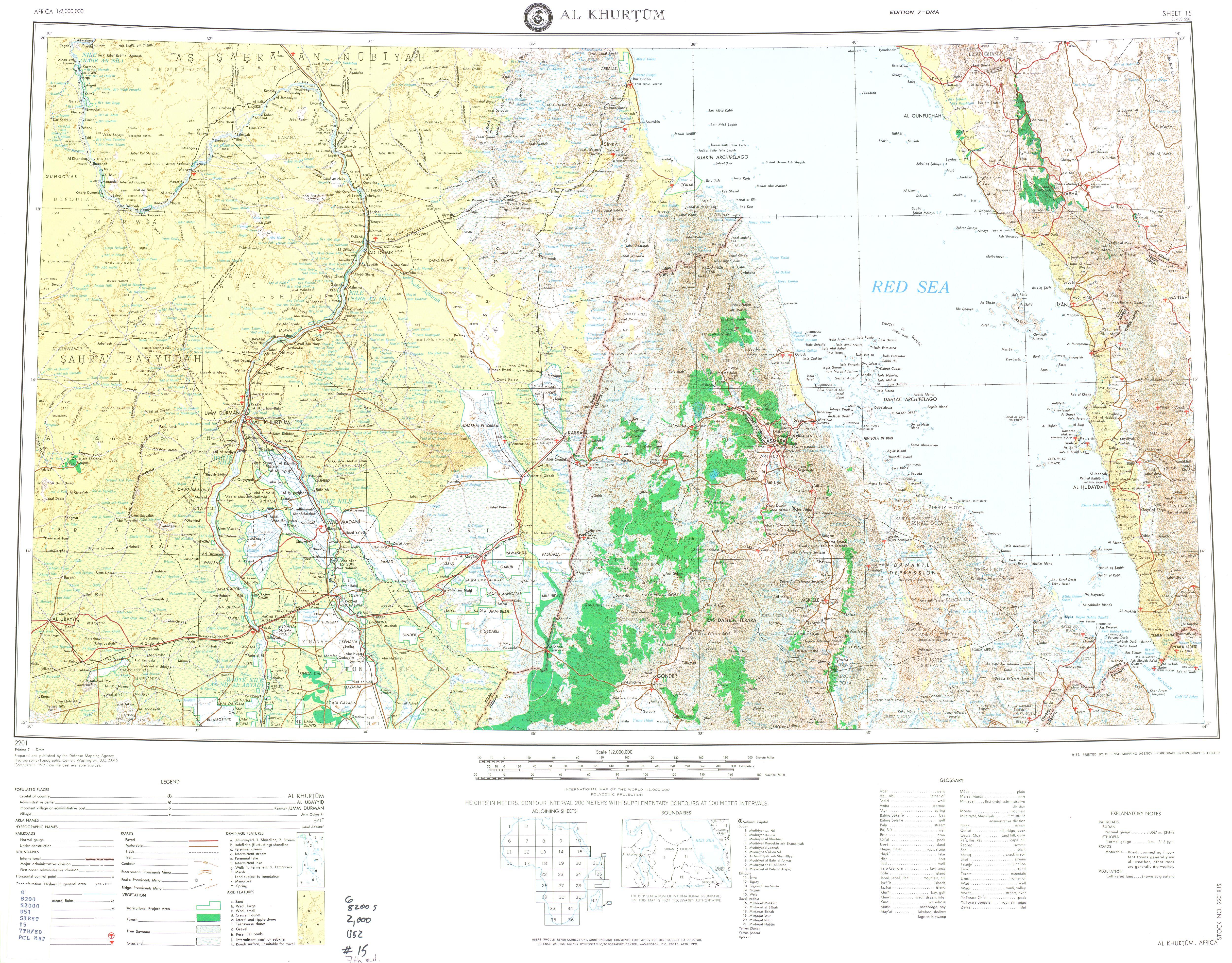 Hoja Jartum (Al Khurtum) del Mapa Topográfico de África 1979