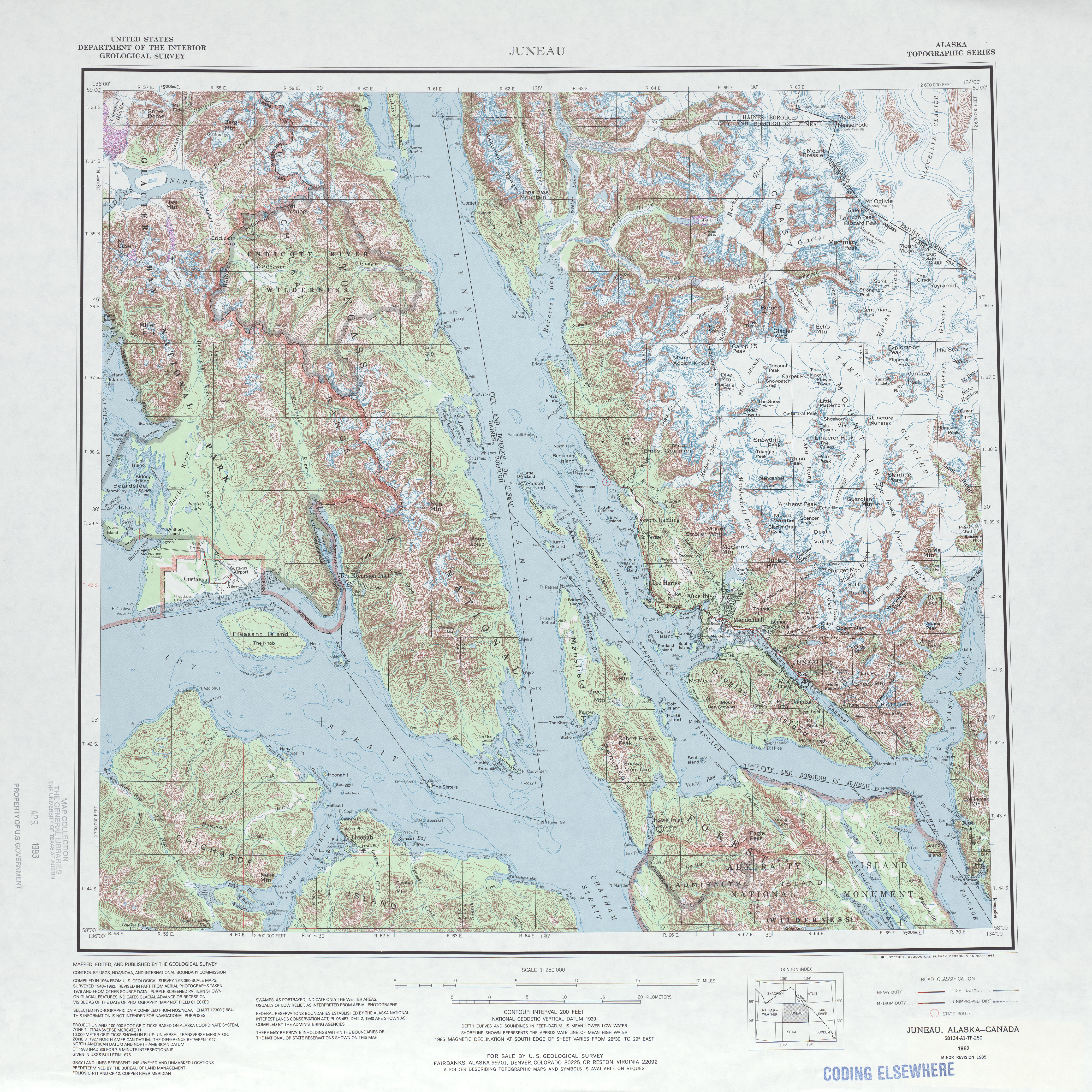 Juneau Topographic Map Sheet, United States 1985