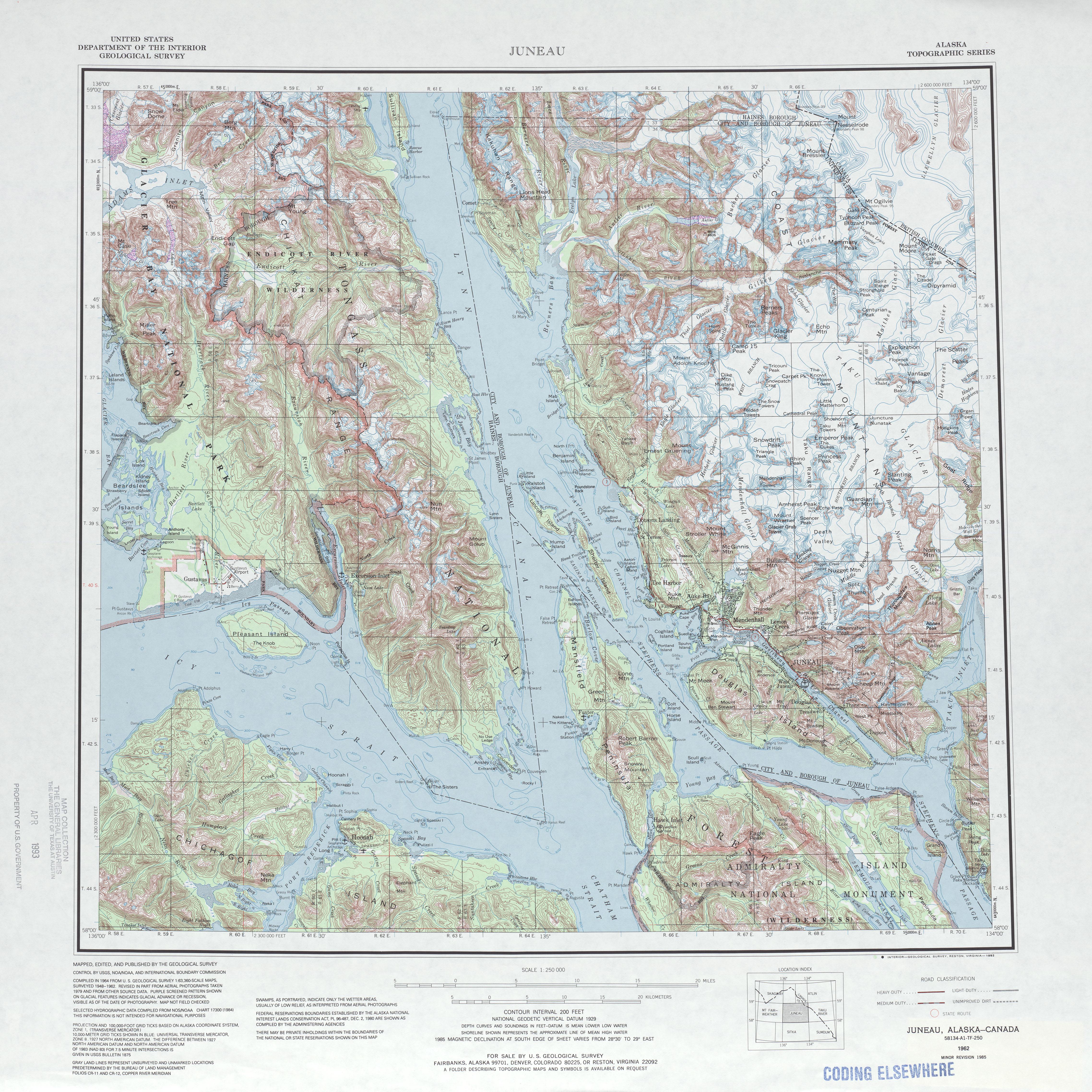 Hoja Juneau del Mapa Topográfico de los Estados Unidos 1985