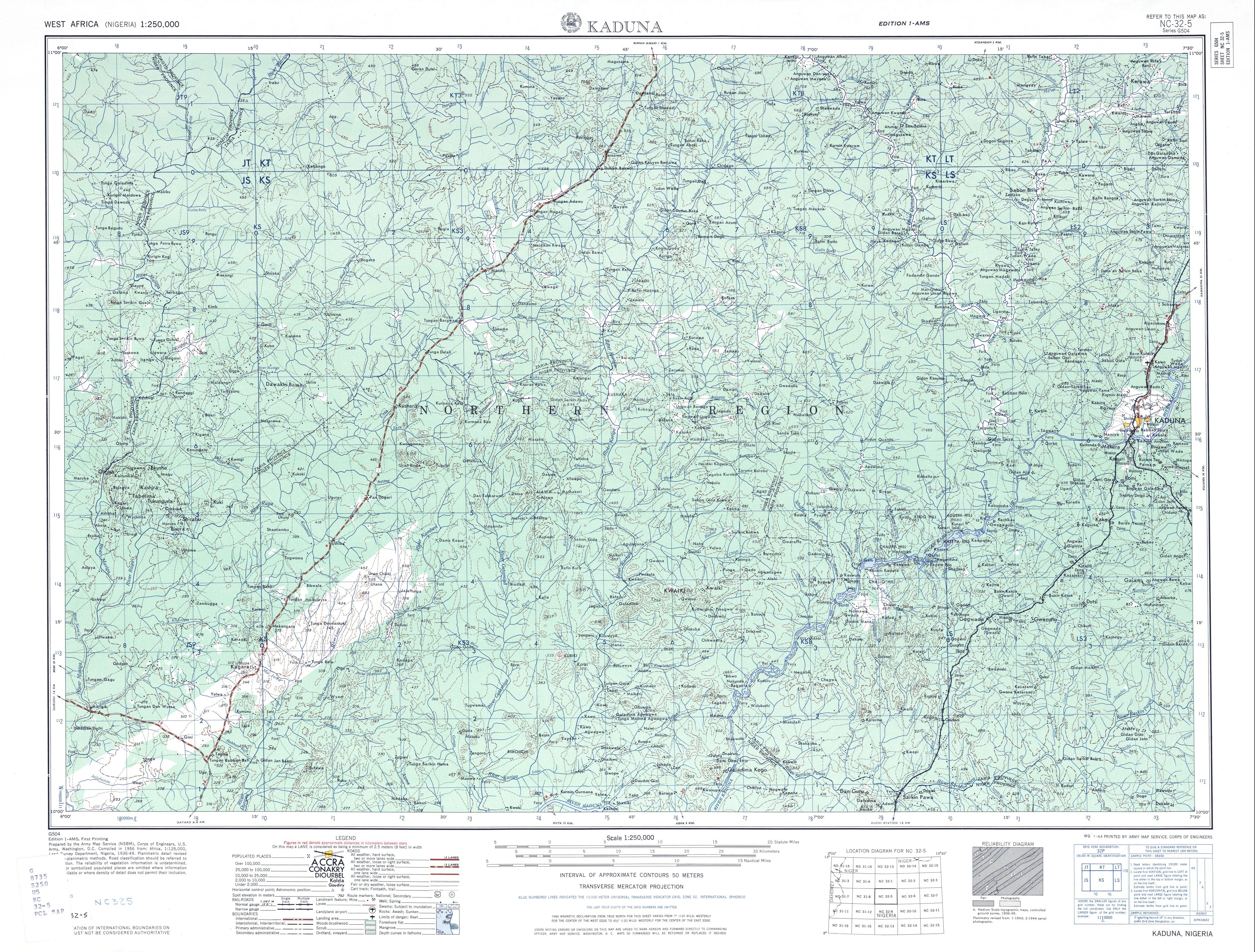 Hoja Kaduna del Mapa Topográfico de África Occidental 1955