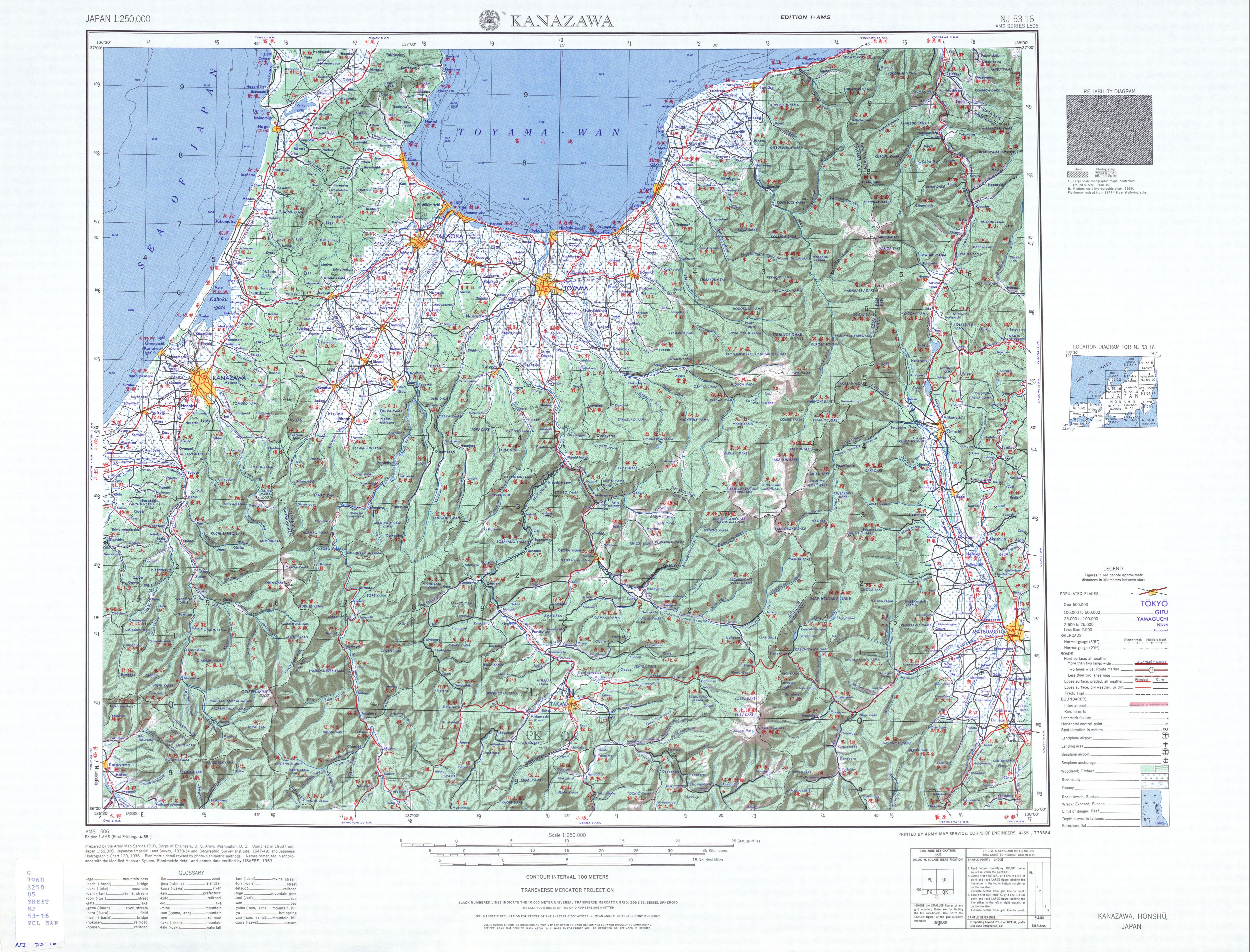 Kanazawa Topographic Map Sheet, Japan 1954