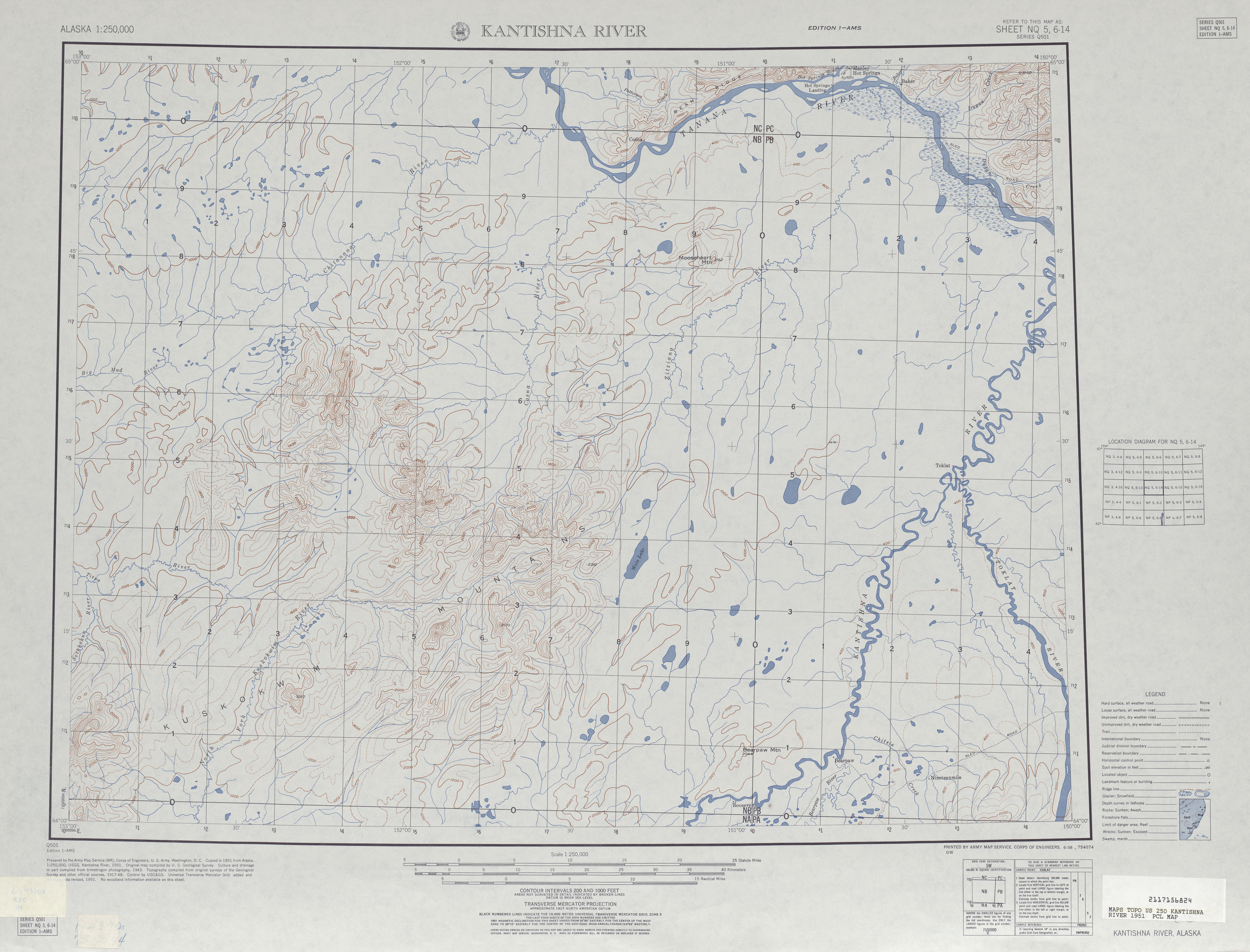 Hoja Kantishna River del Mapa Topográfico de los Estados Unidos 1951