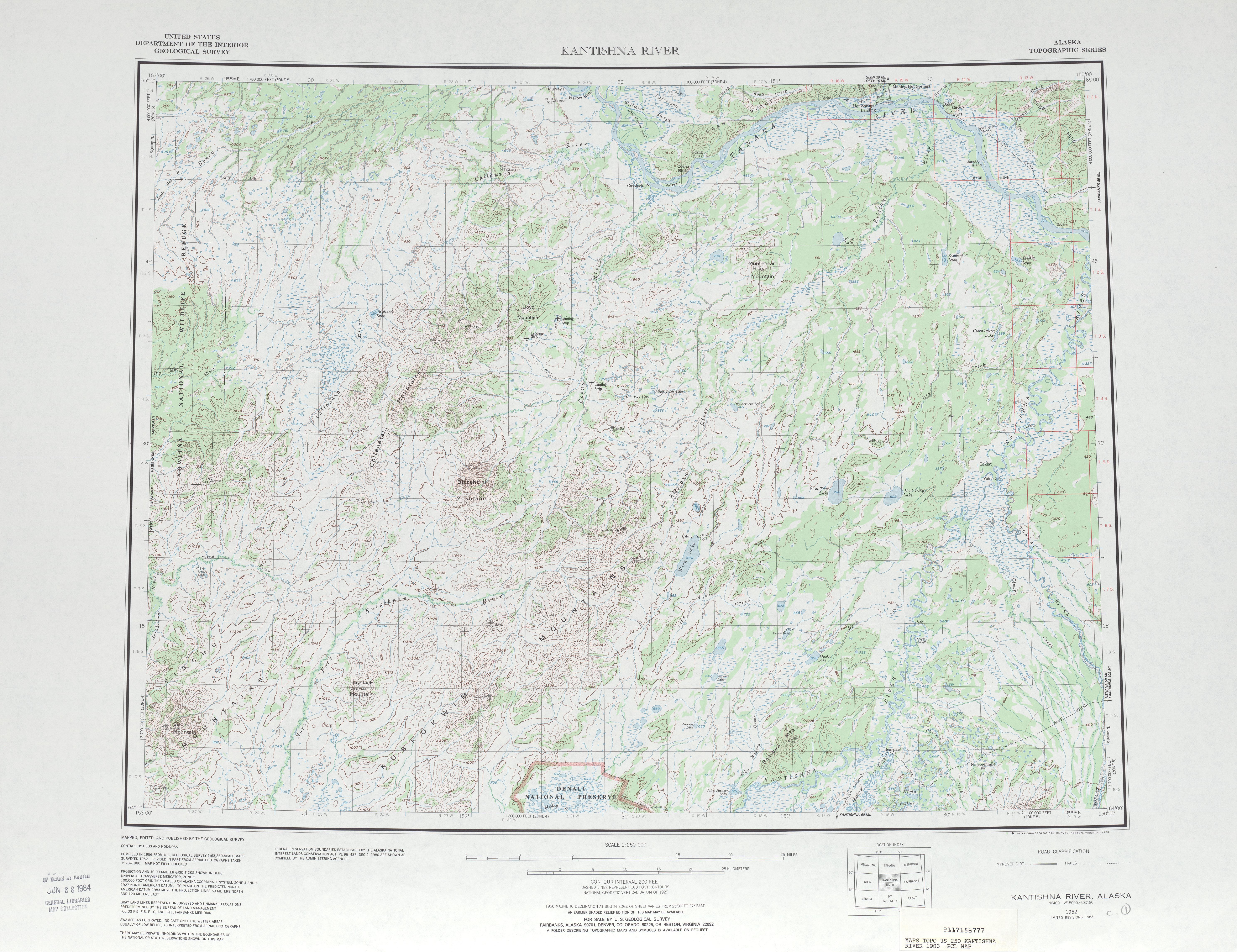Hoja Kantishna River del Mapa Topográfico de los Estados Unidos 1983