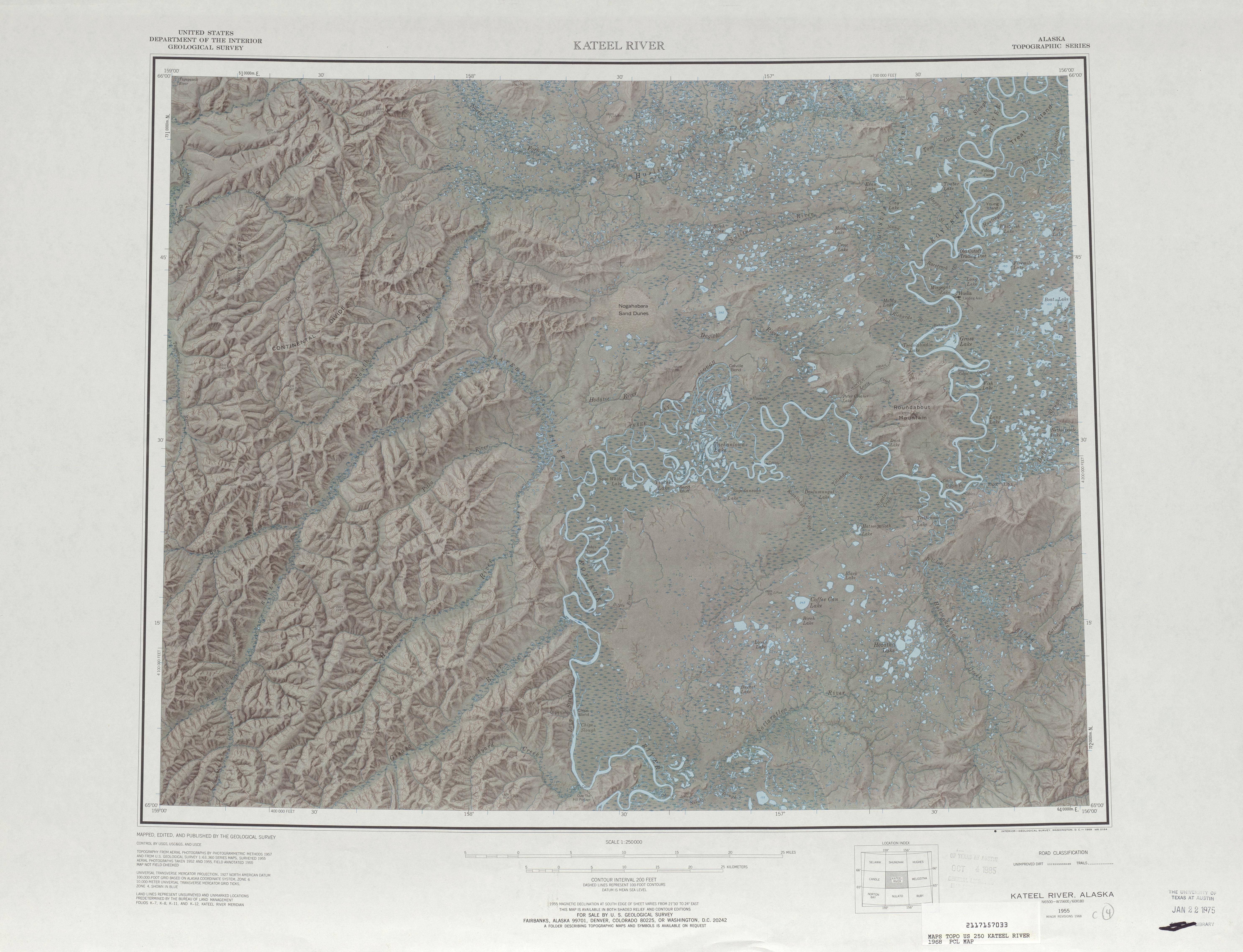 Hoja Kateel River del Mapa de Relieve Sombreado de los Estados Unidos 1968