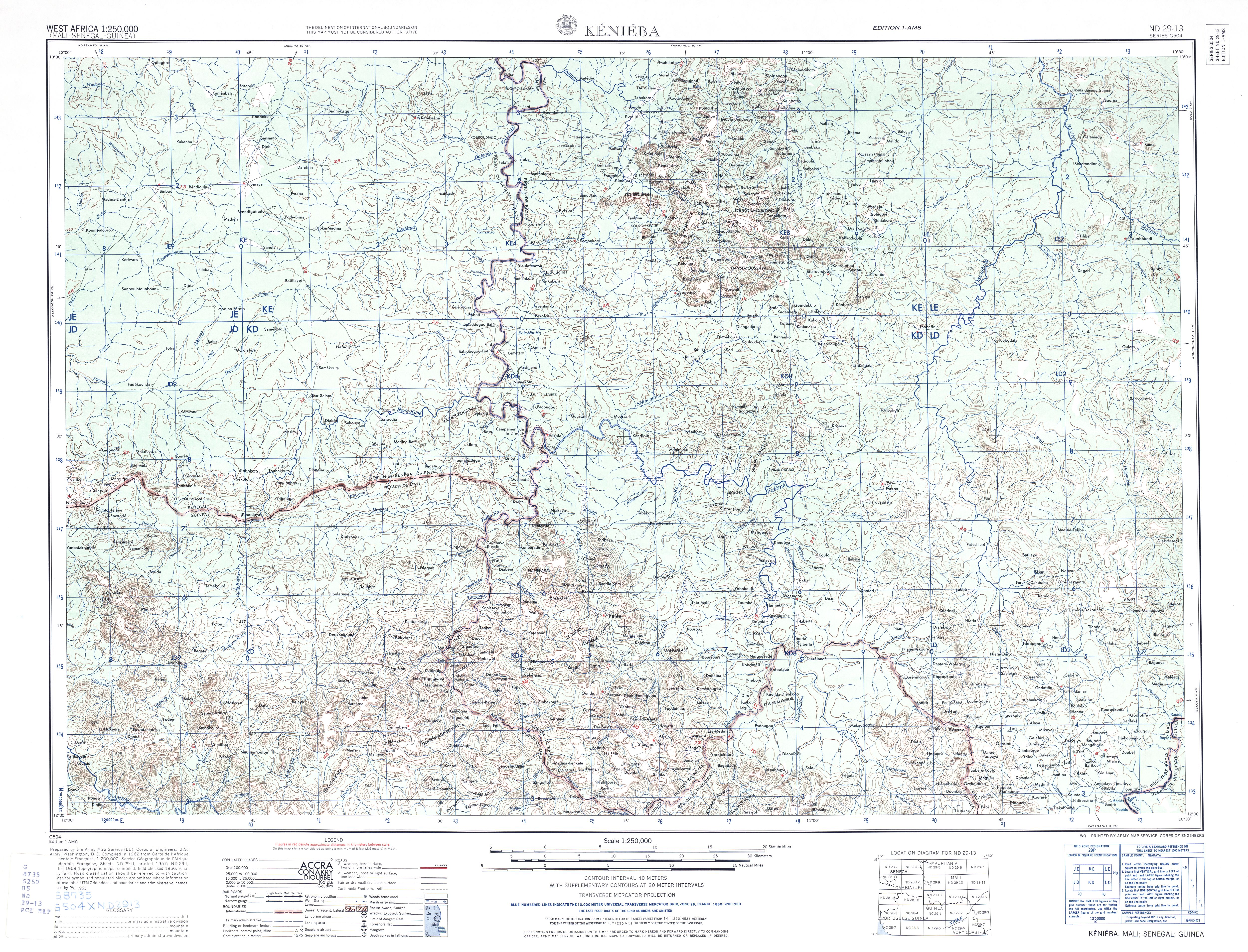 Kenieba Topographic Map Sheet, Western Africa 1955