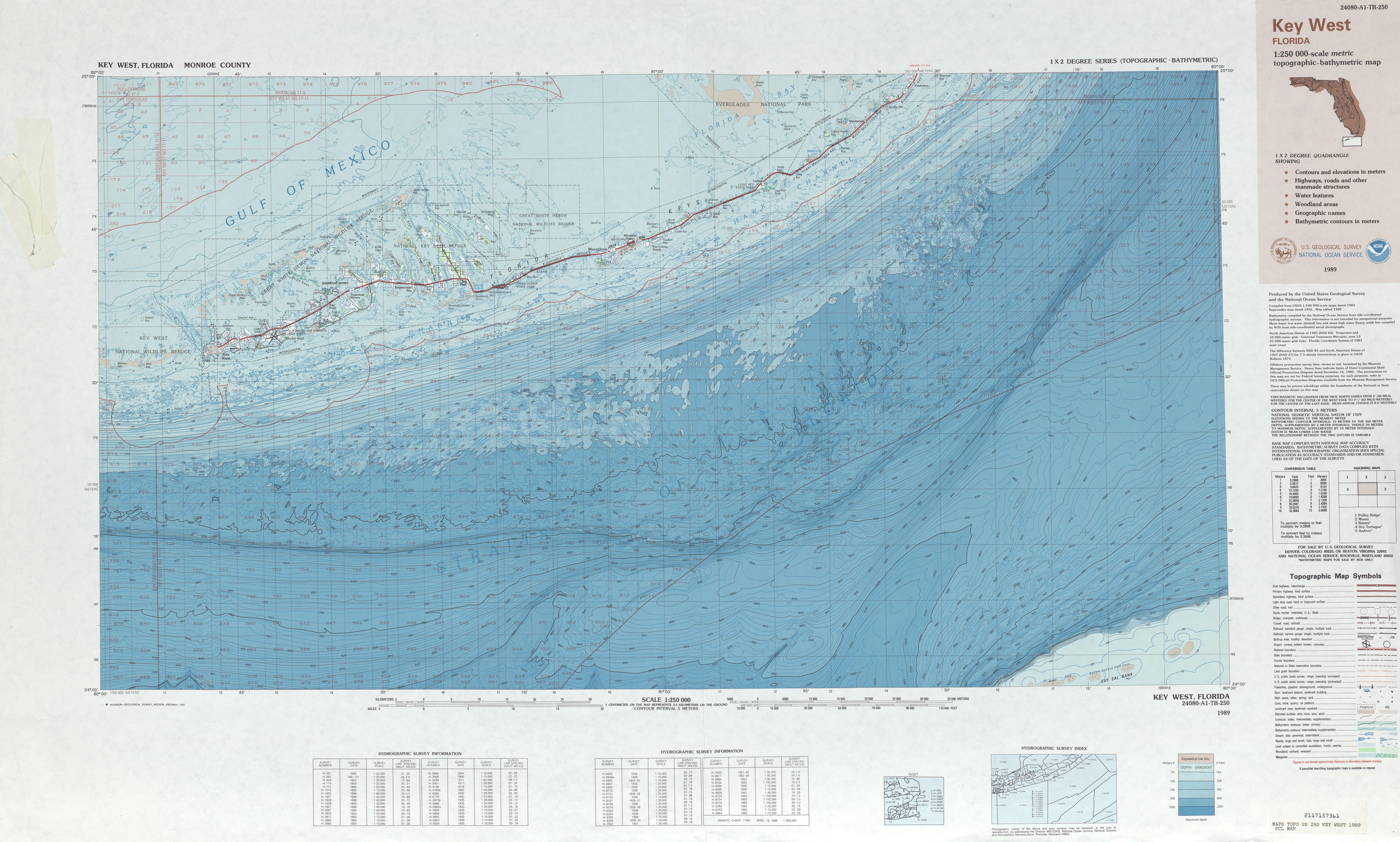 Key West Topographic-Bathymetric Map Sheet, United States 1989