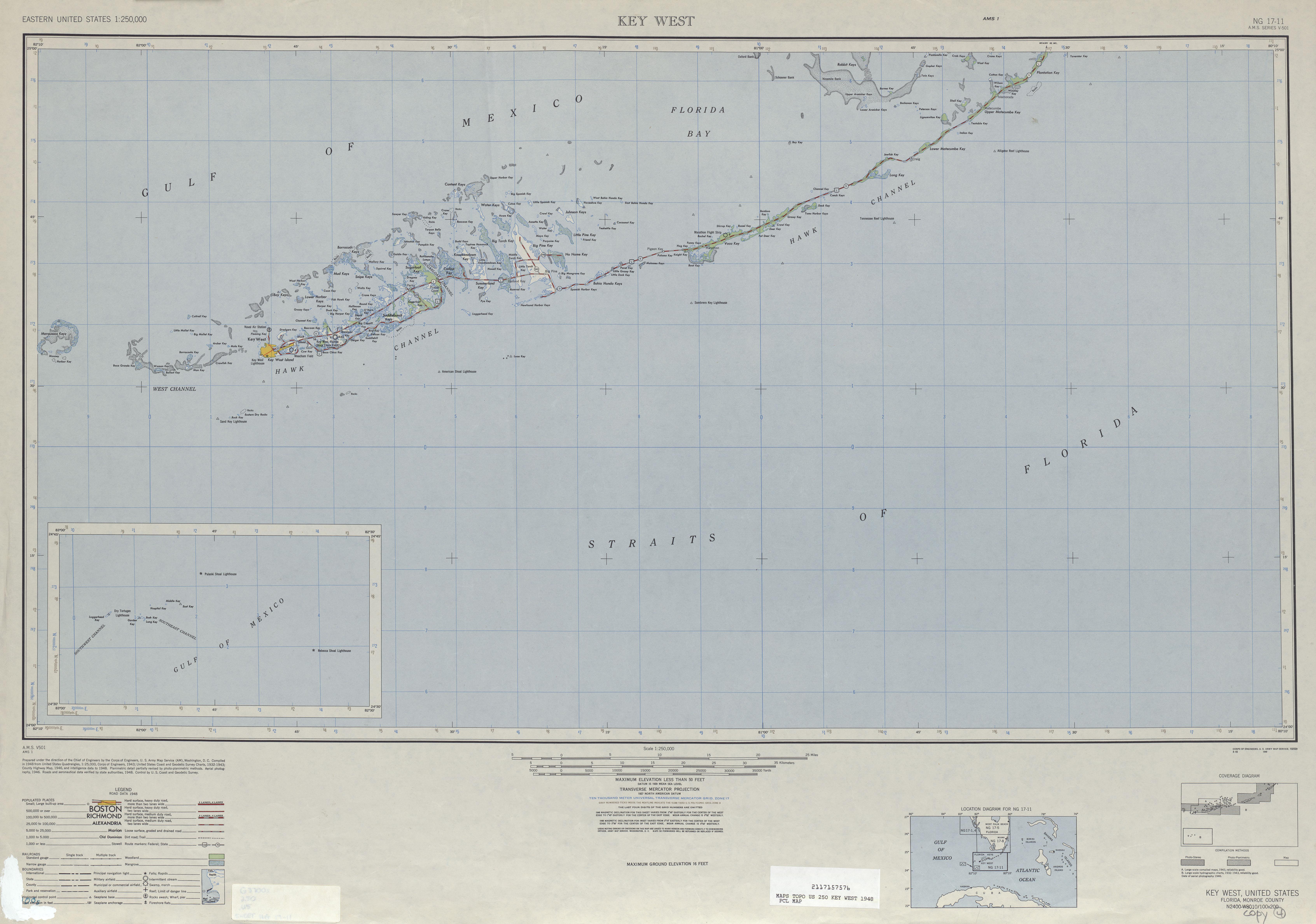 Hoja Key Oeste del Mapa Topográfico de los Estados Unidos 1948