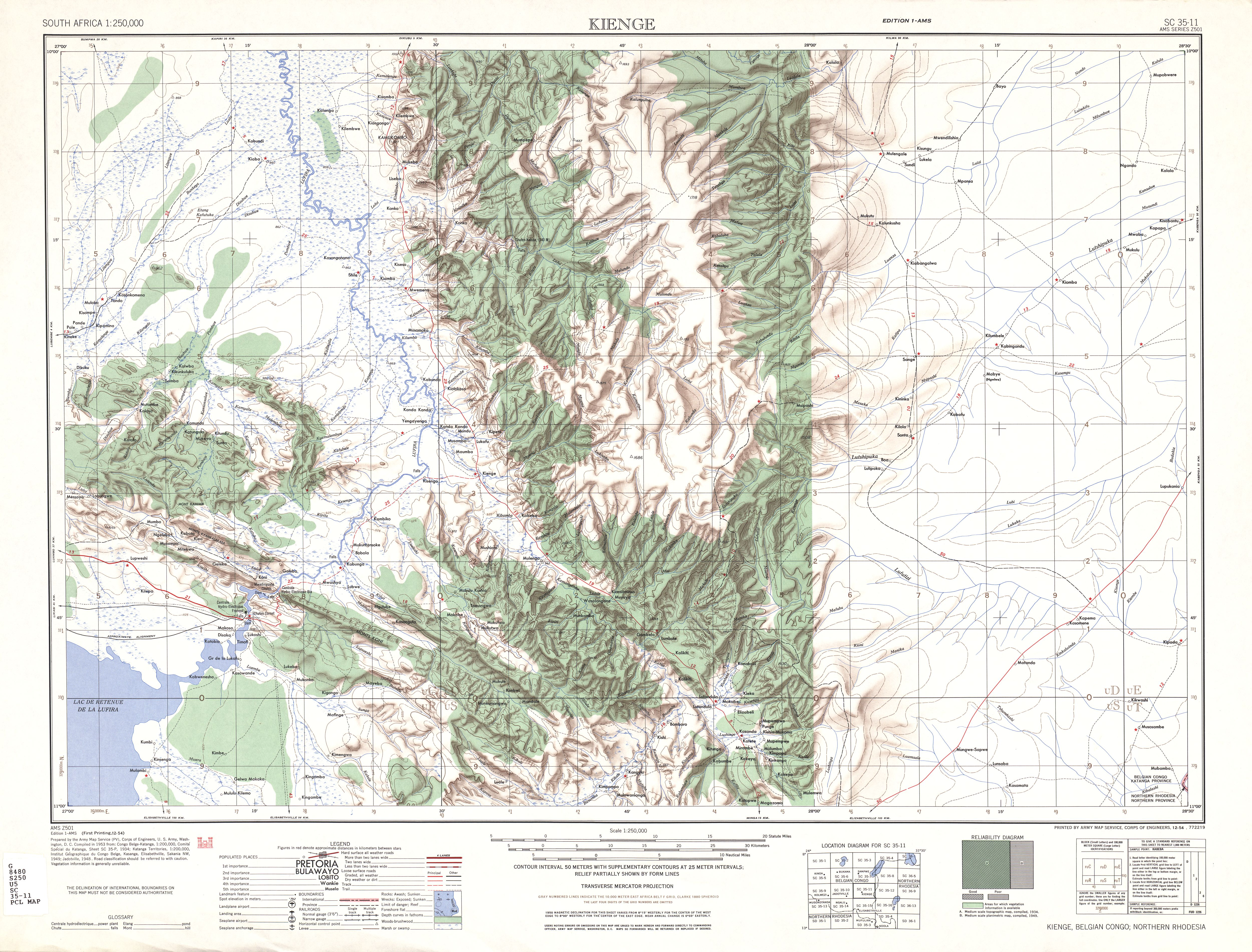 Kienge Topographic Map Sheet, Southern Africa 1954