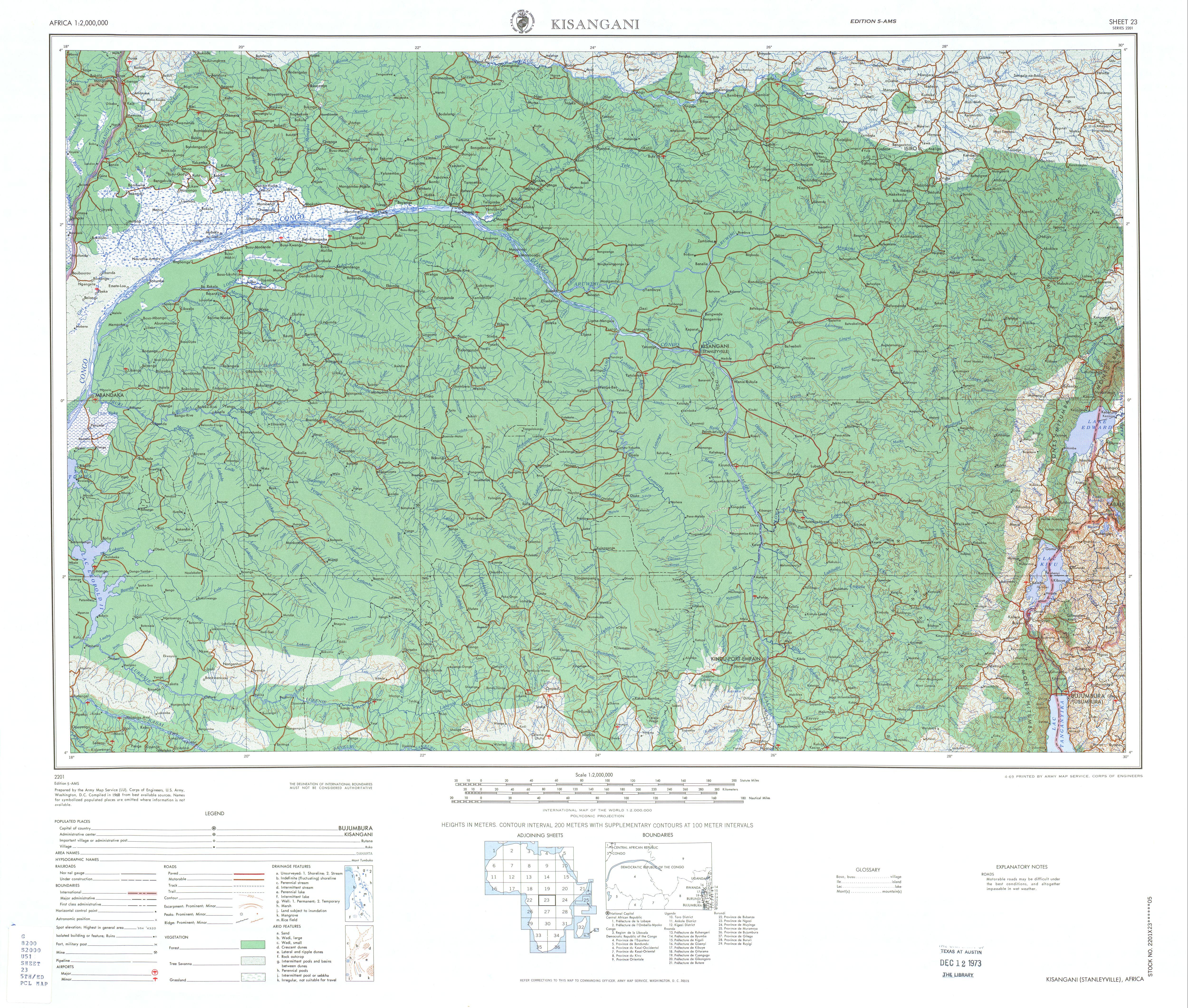 Kisangani Topographic Sheet Map, Africa 1968