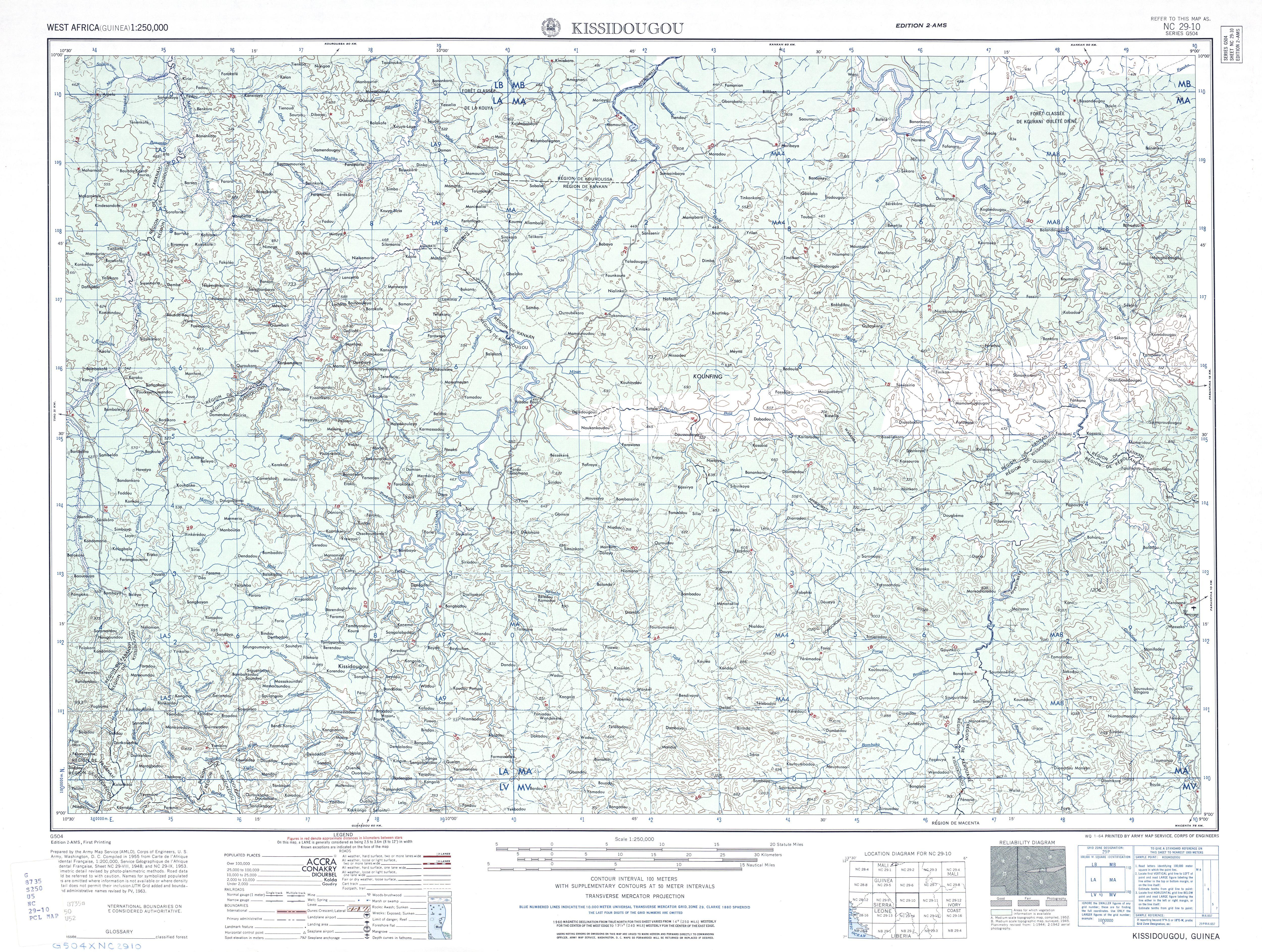 Hoja Kissidougou del Mapa Topográfico de África Occidental 1955