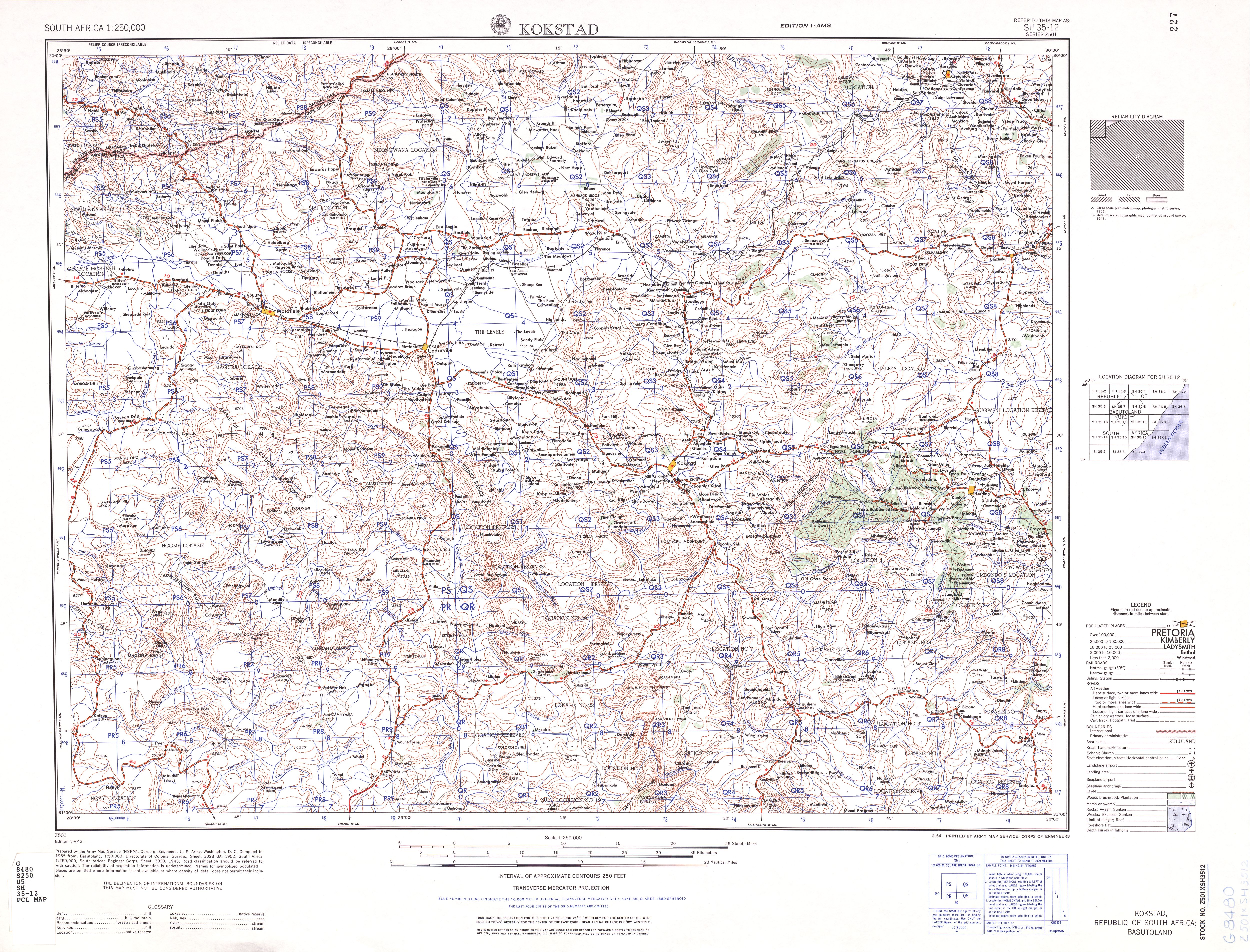 Hoja Kokstad del Mapa Topográfico de África Meridional 1954