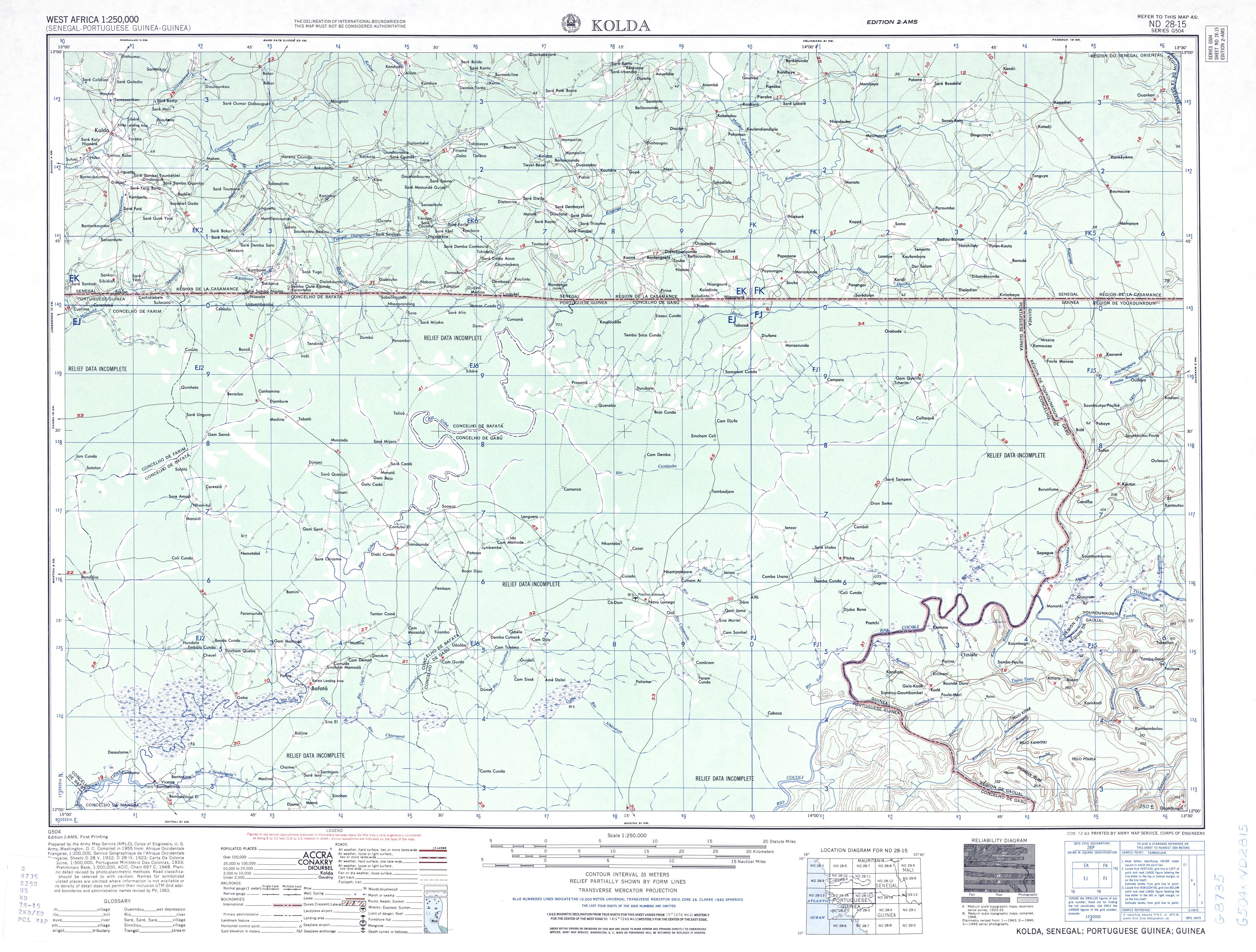 Hoja Kolda del Mapa Topográfico de África Occidental 1955
