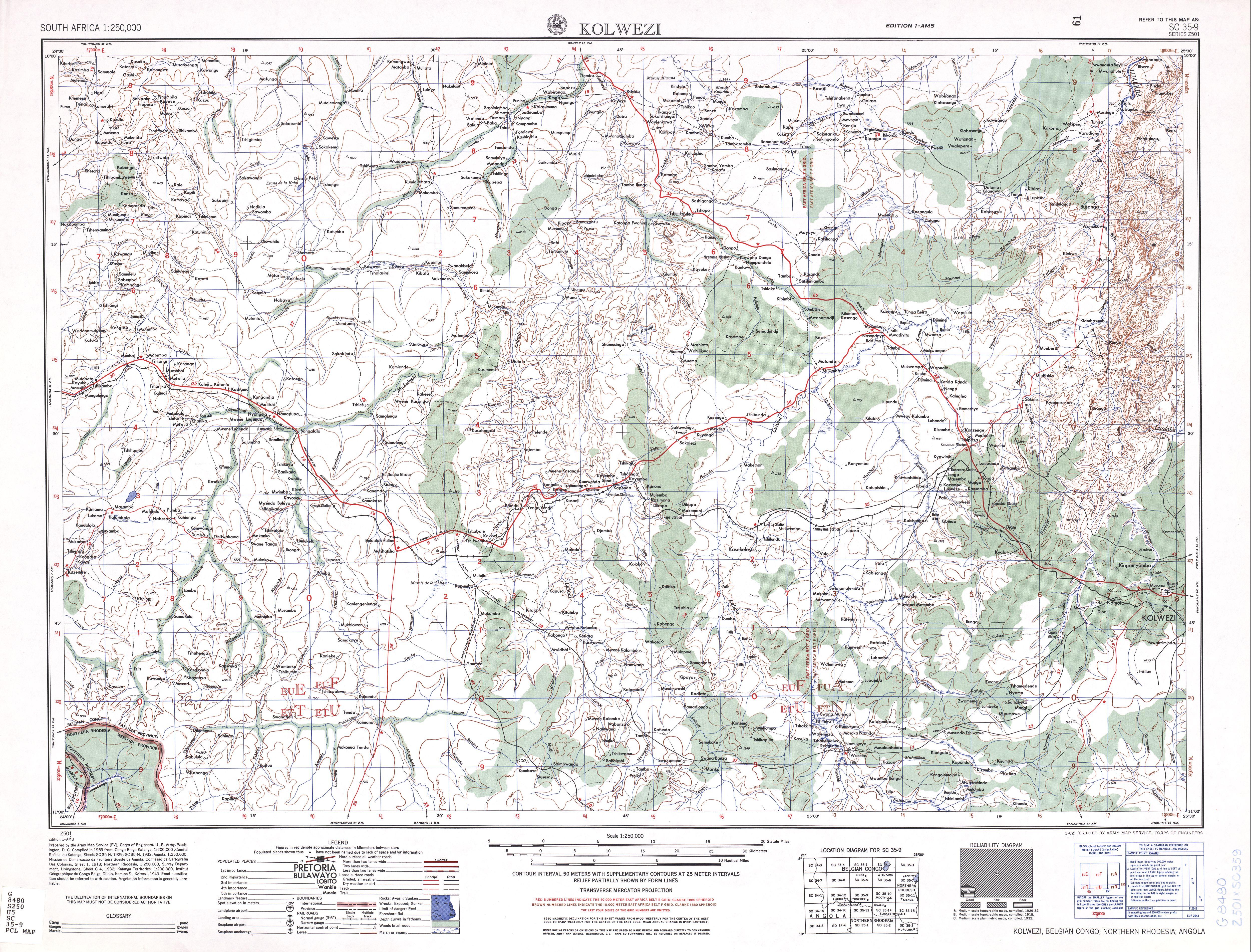 Hoja Kolwezi del Mapa Topográfico de África Meridional 1954