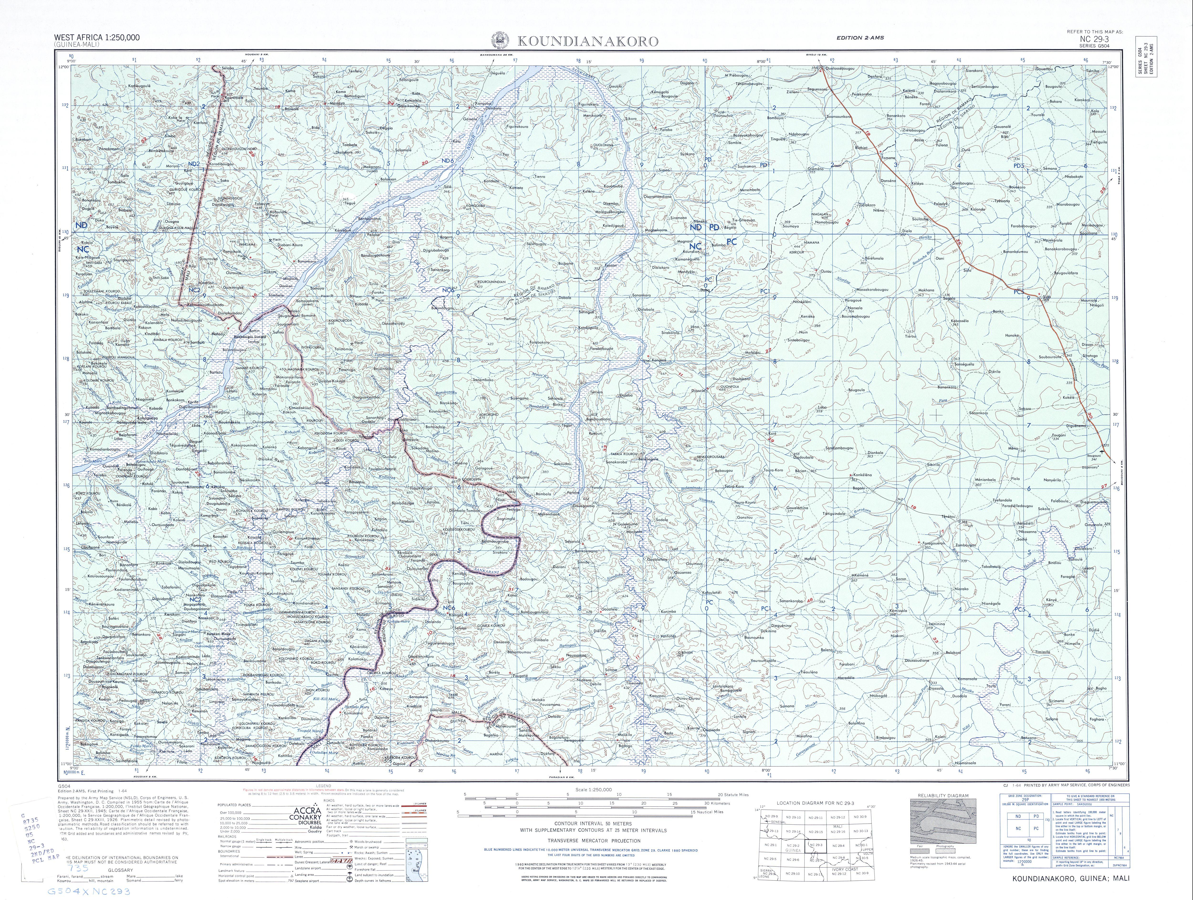 Hoja Koundianakoro del Mapa Topográfico de África Occidental 1955