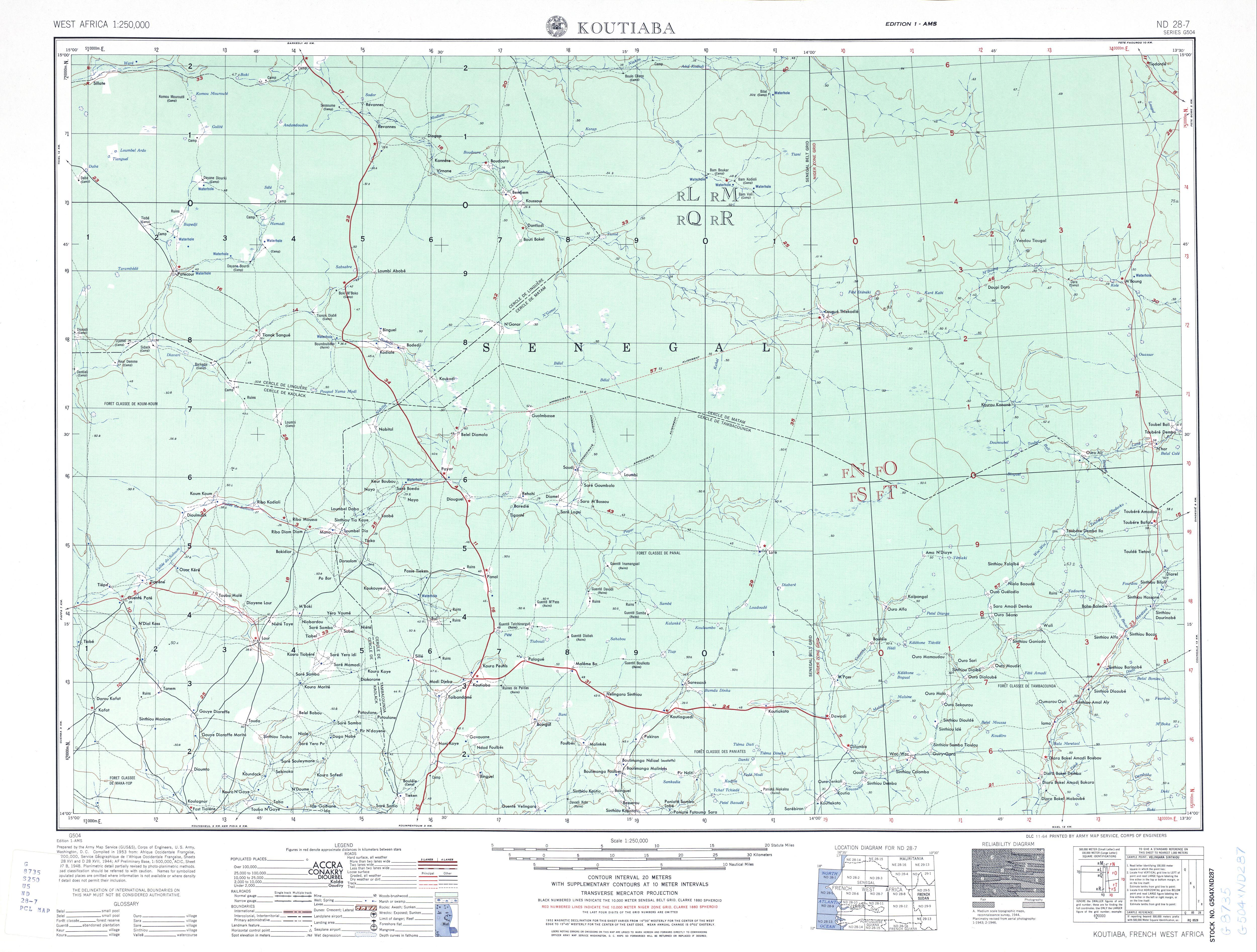 Koutiaba Topographic Map Sheet, Western Africa 1955